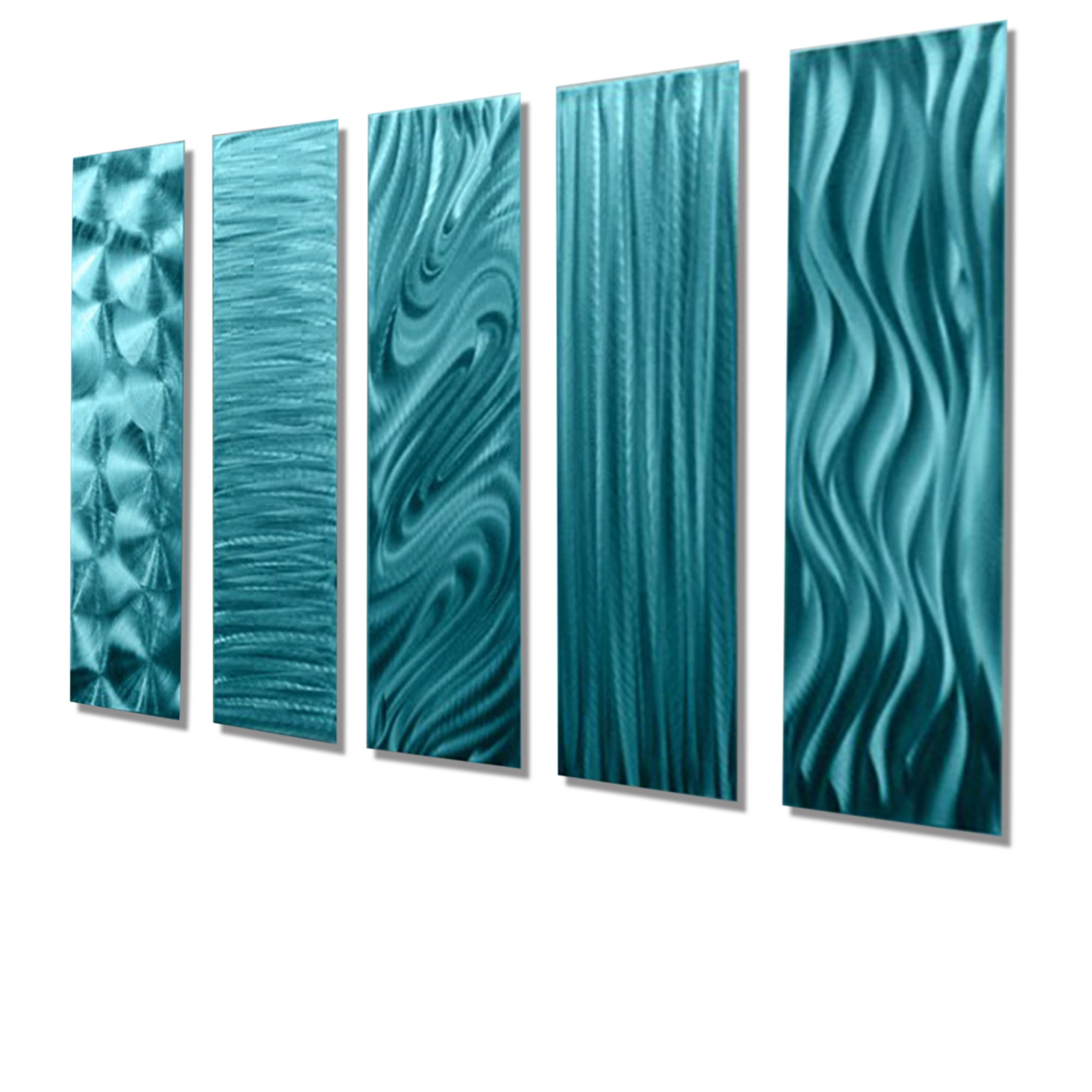 "Turquoise Metal Wall Art With Regard To Latest 5 Easy Pieces Aqua – Set Of Five 24"" X 6"" Metal Wall Art Accents (View 12 of 15)"
