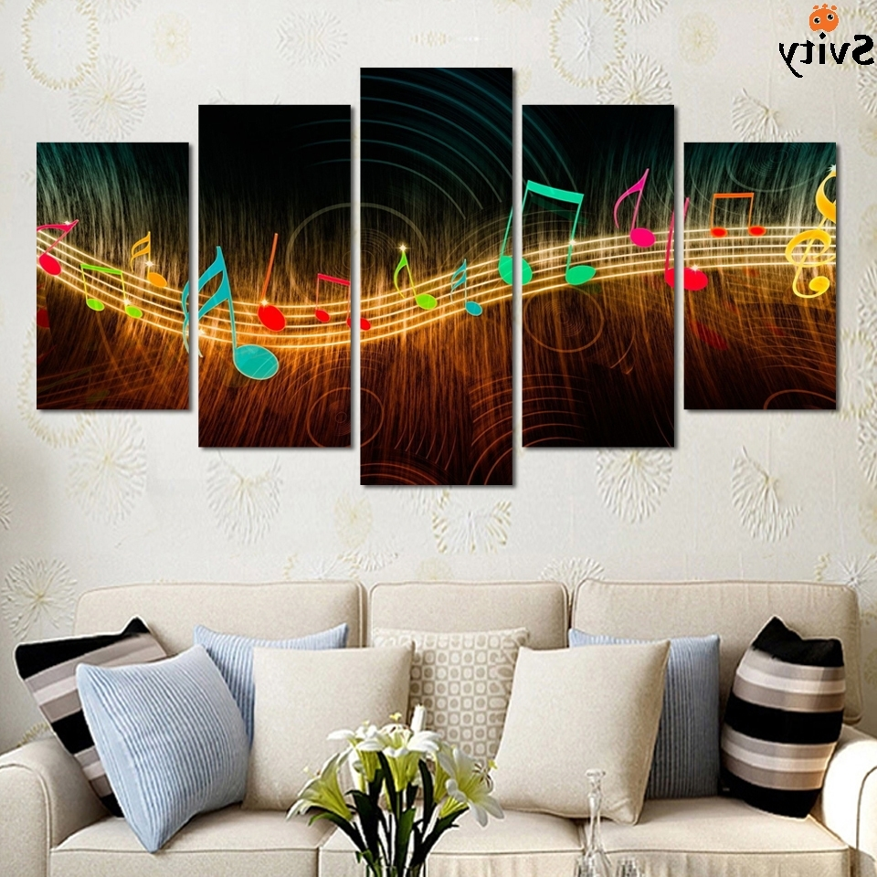 Unframed Painting On Canvas Abstract Music Notation Pictures Home For Favorite Abstract Music Wall Art (View 13 of 15)