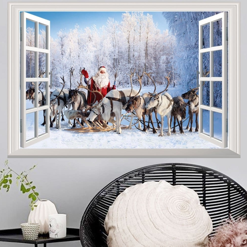 Unique 3d Wall Art Inside Best And Newest 2018 Window Forest Christmas Santa Deer 3d Wall Art Sticker (View 10 of 15)