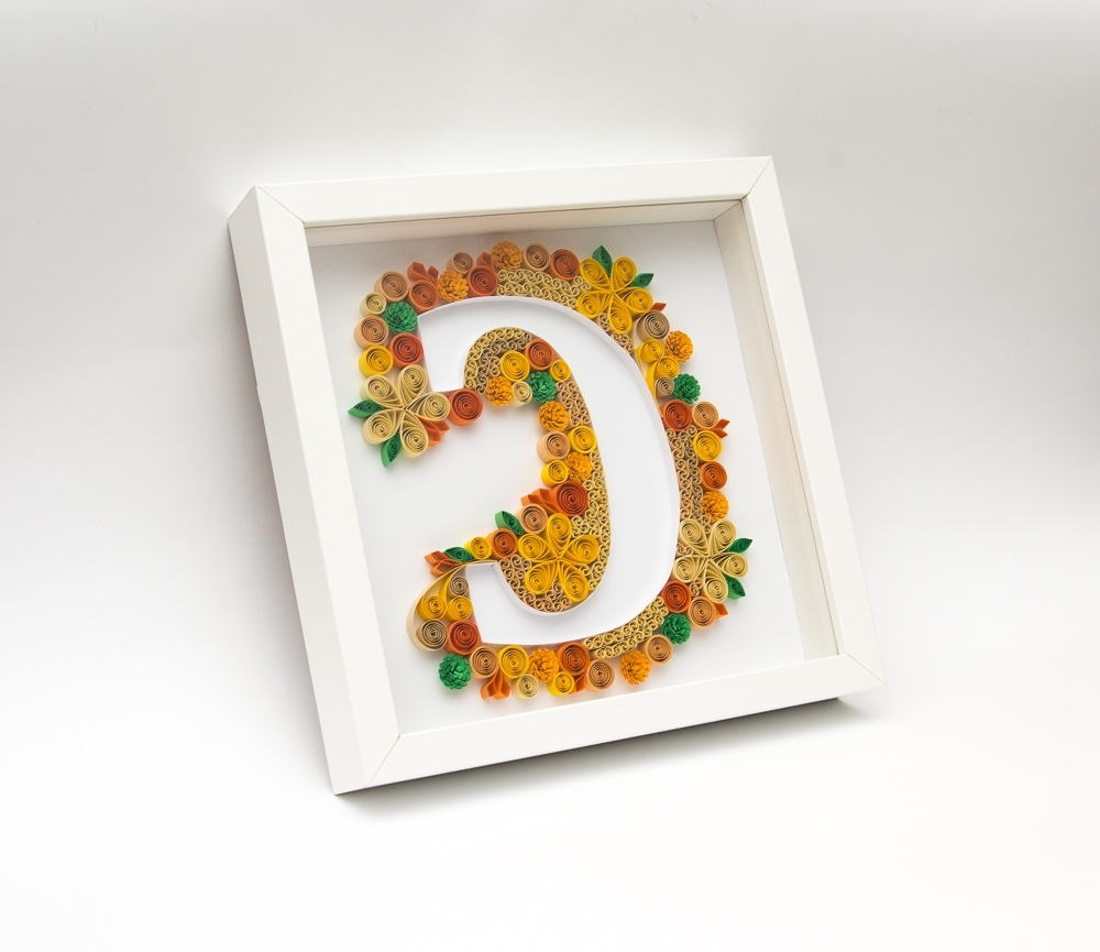 Unique Framed Quilling Art Monogram Letter C Alphabet 3d Wall Art With Regard To Most Recently Released 3d Wall Art Etsy (View 10 of 15)