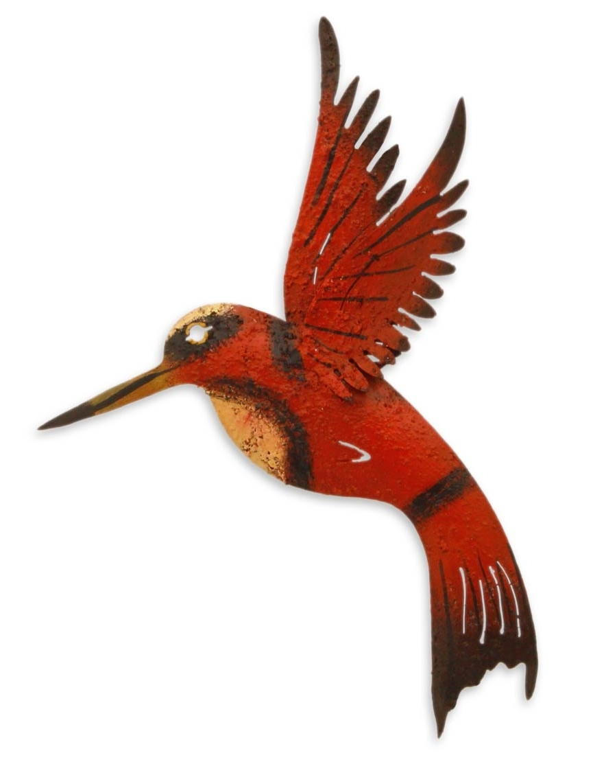 Unique Red Bird Wall Art Steel Sculpture From Mexico – Little Ruby For Most Current Hummingbird Metal Wall Art (View 5 of 15)