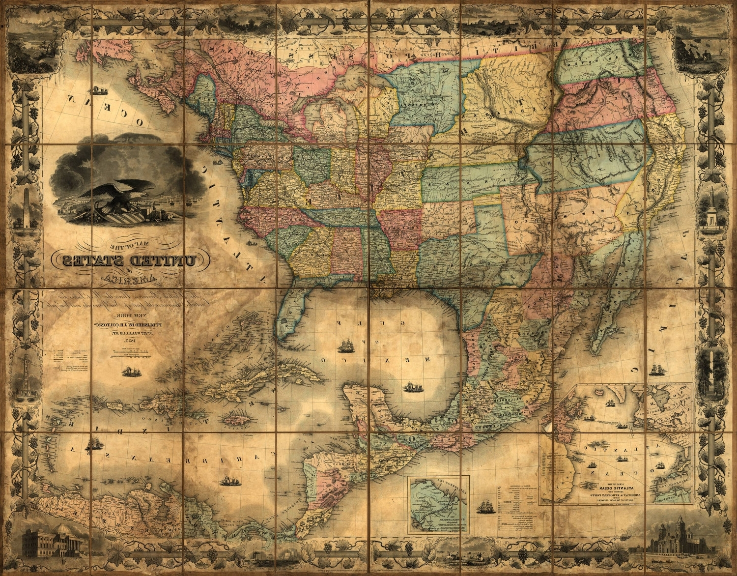 United States Map, Vintage Map, Canvas Large Map, Wall Art Map Inside Most Recently Released Antique Map Wall Art (View 11 of 15)