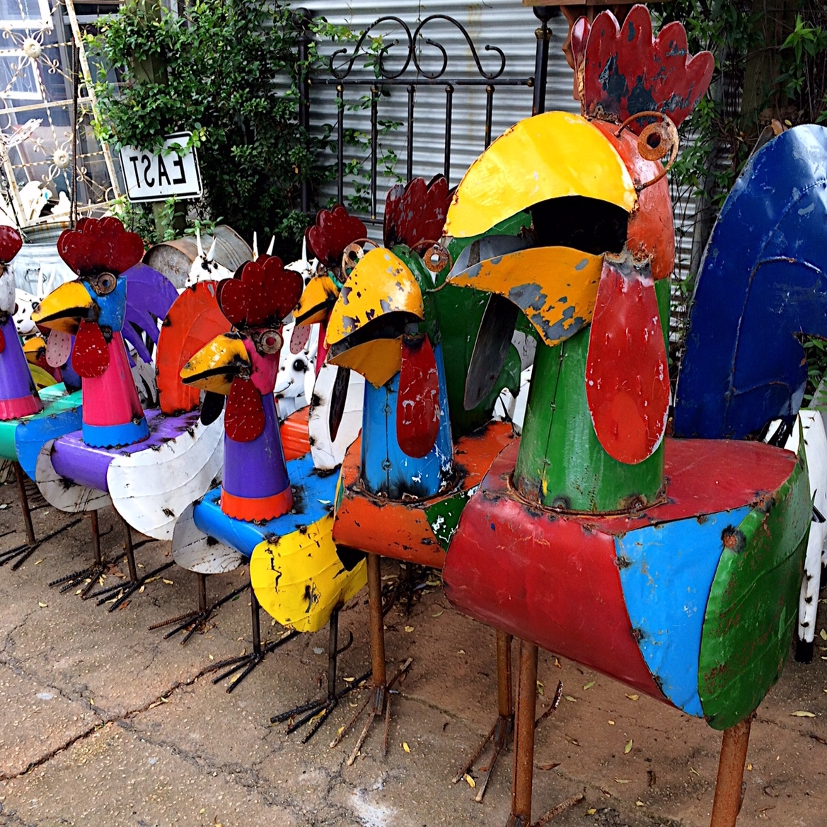 Upcycled Metal Rooster Yard Art – Kudzu Antiques Inside Popular Mexican Metal Yard Wall Art (View 2 of 15)