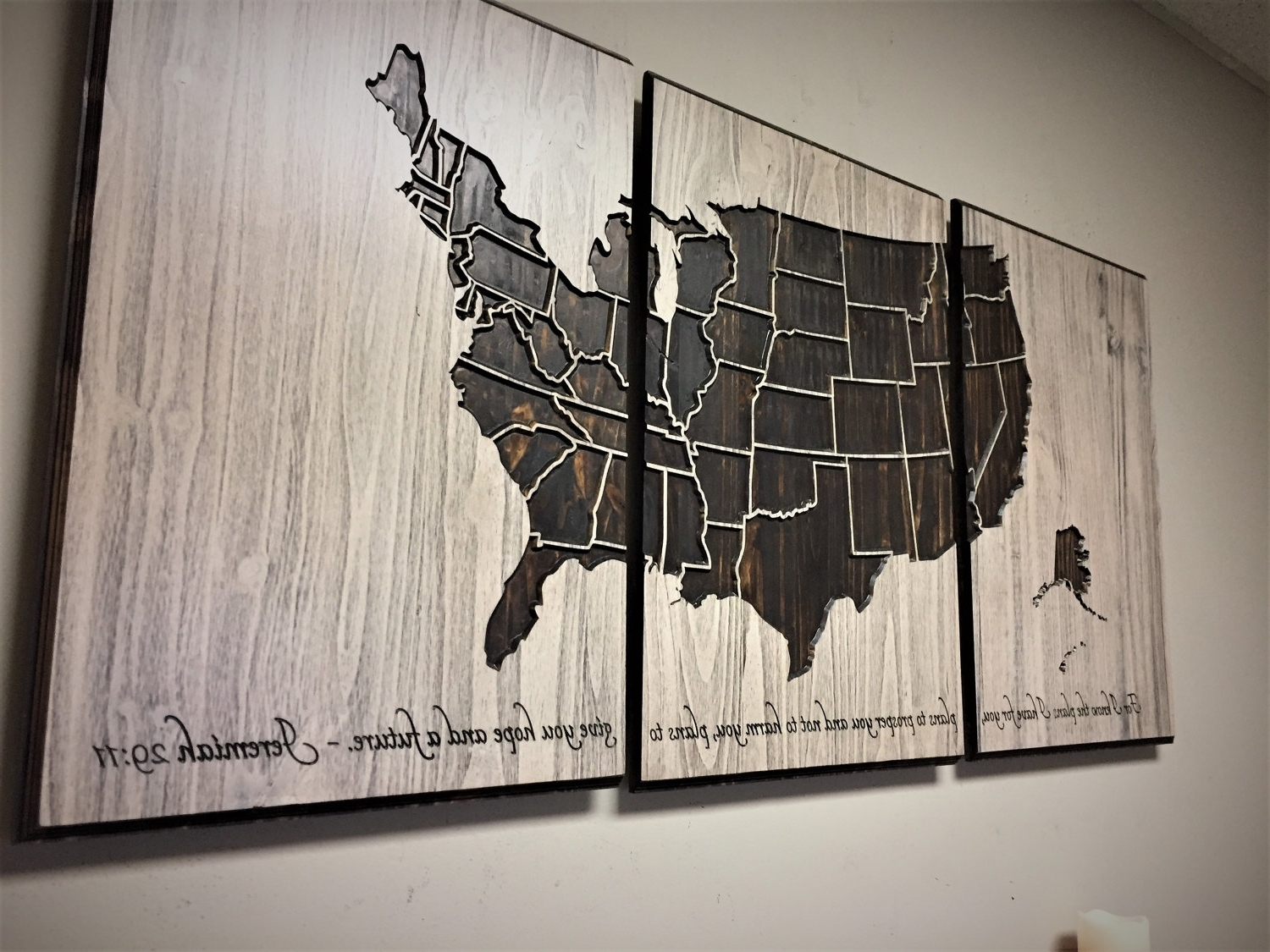 Us Map Wall Art For Current Us Map Wall Art, Wood Wall Art, Push Pin Map, 3 Panel Map, Vintage (Gallery 8 of 15)