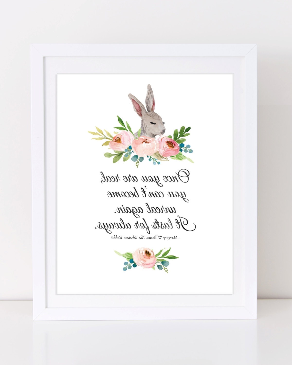 Velveteen Rabbit Wall Art Regarding Favorite Velveteen Rabbit Quote, Bunny Wall Art, Printable Nursery Art (View 9 of 15)