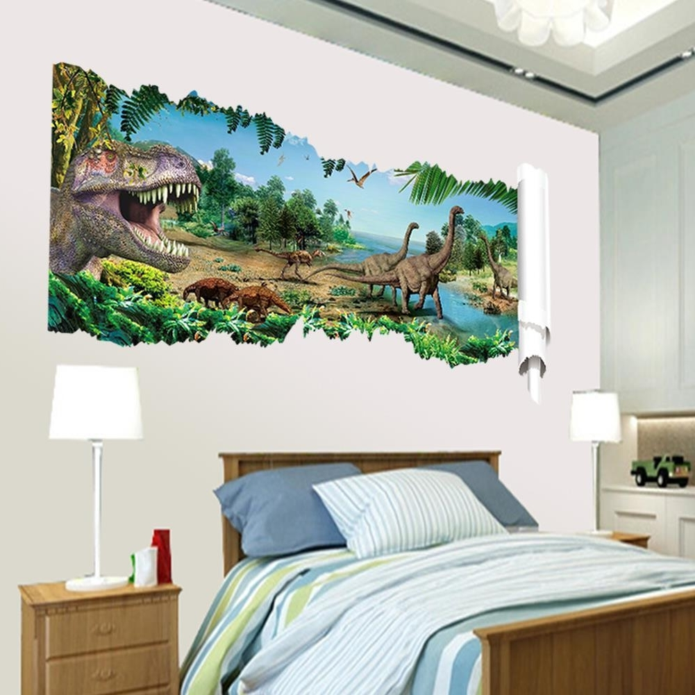 Venezuela Wall Art 3D Intended For Best And Newest 3D Dinosaurs Through The Wall Stickers Jurassic Park Home (View 10 of 15)