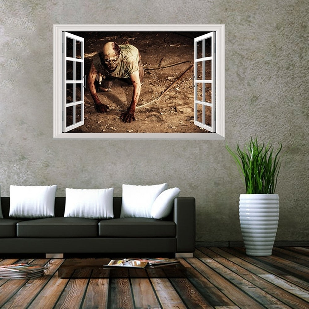 Venezuela Wall Art 3D With Most Recently Released 2018 Window Zombie 3D Wall Art Sticker Brown  (View 14 of 15)