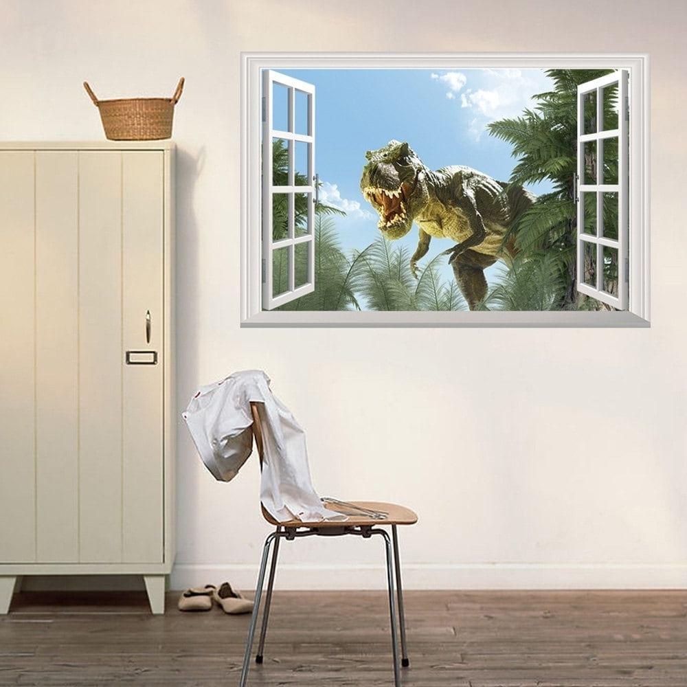 Venezuela Wall Art 3D With Regard To Most Recently Released 2018 Window Dinosaur 3D Wall Art Sticker Colormix  (View 15 of 15)