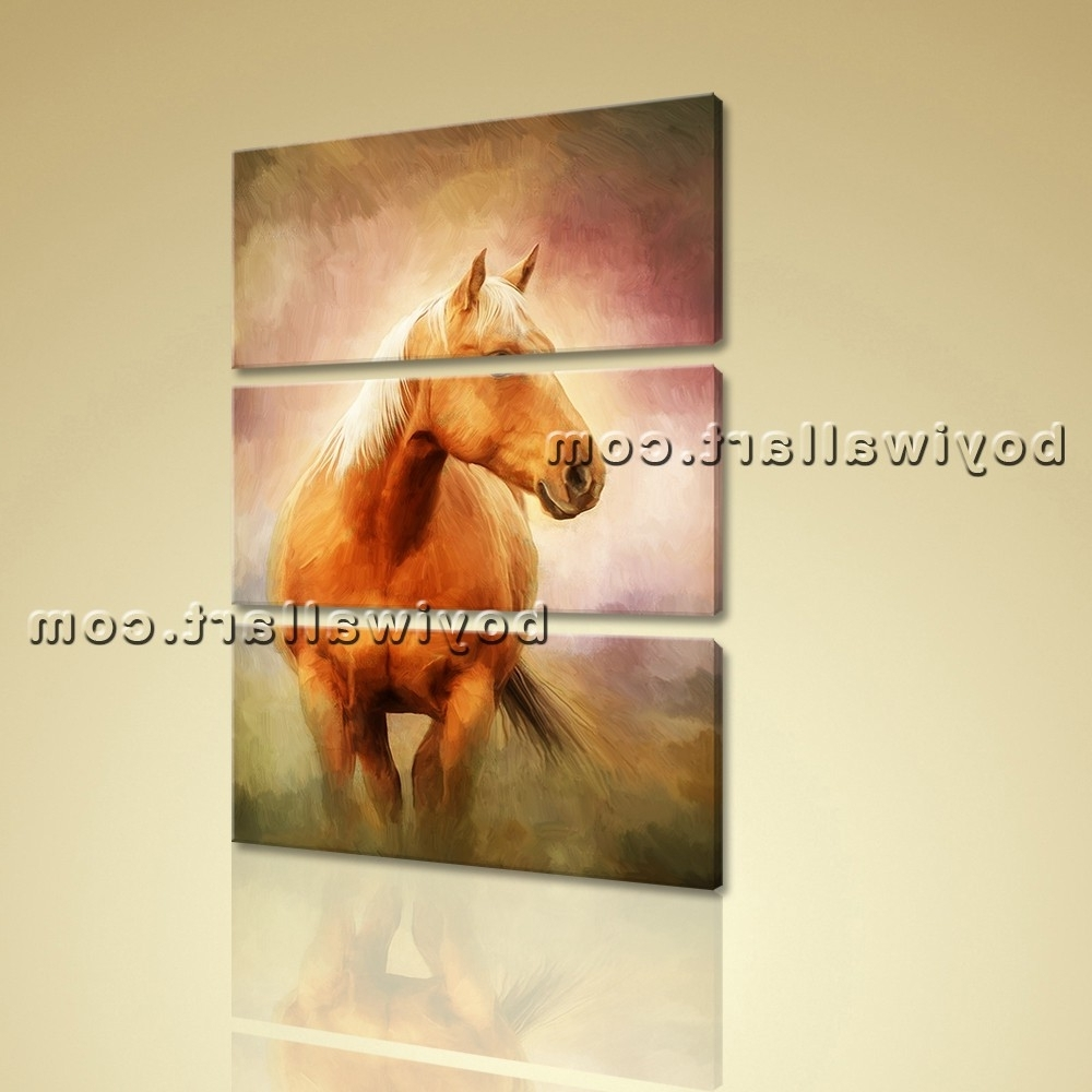 Vertical Painting Print Horse Wall Art On Canvas Living Room Home Within Well Liked Animal Wall Art (Gallery 13 of 15)