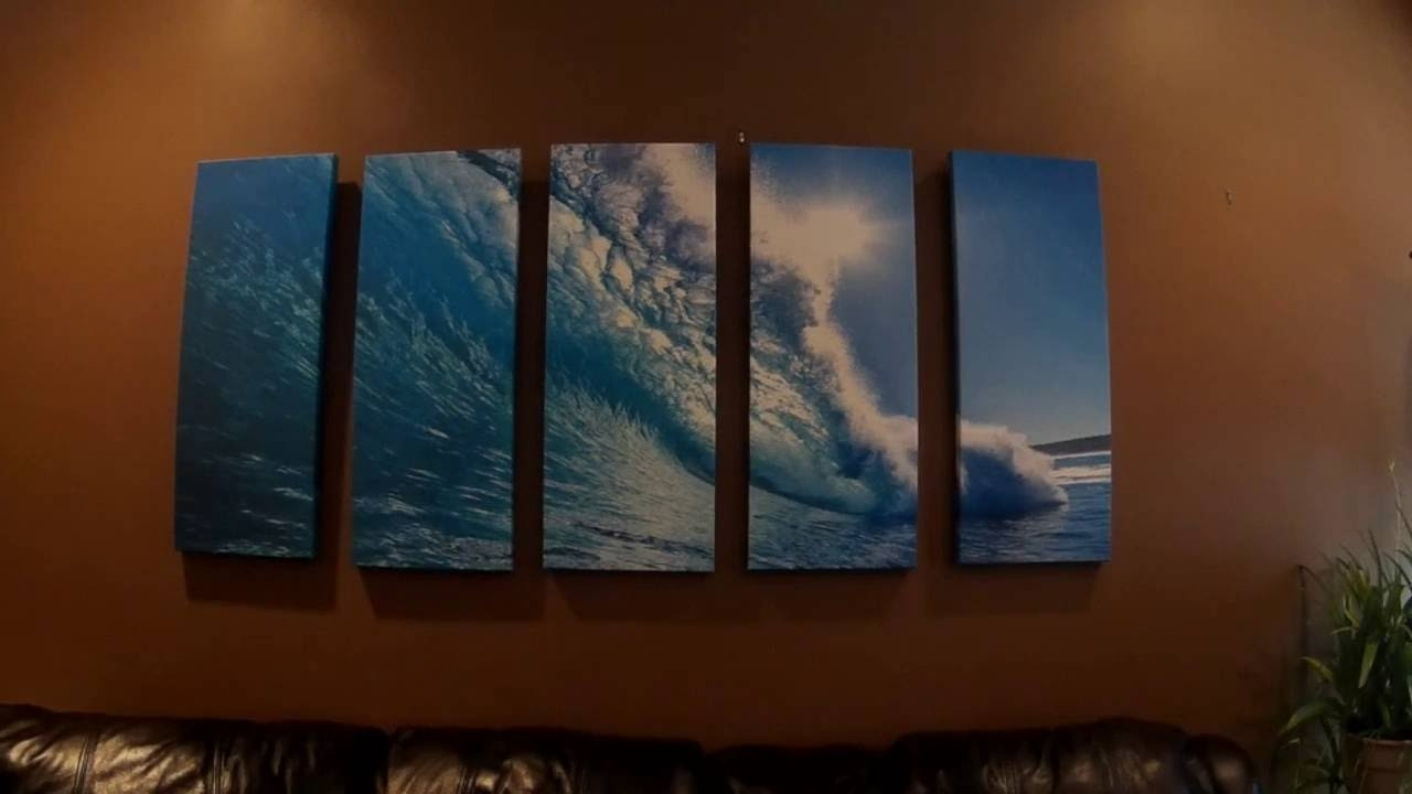 Vibrant Wall Art Pertaining To Famous Vibrant Canvas 5 Pc Wall Art Review – Ocean Wave Seascape – Youtube (View 12 of 15)