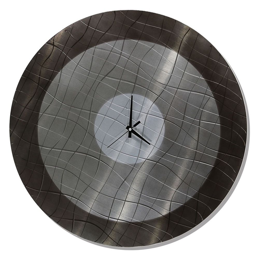 Vibrations In Charcoal – Functional Mid Century Modern Metal Wall Throughout 2018 Abstract Metal Wall Art With Clock (Gallery 14 of 15)