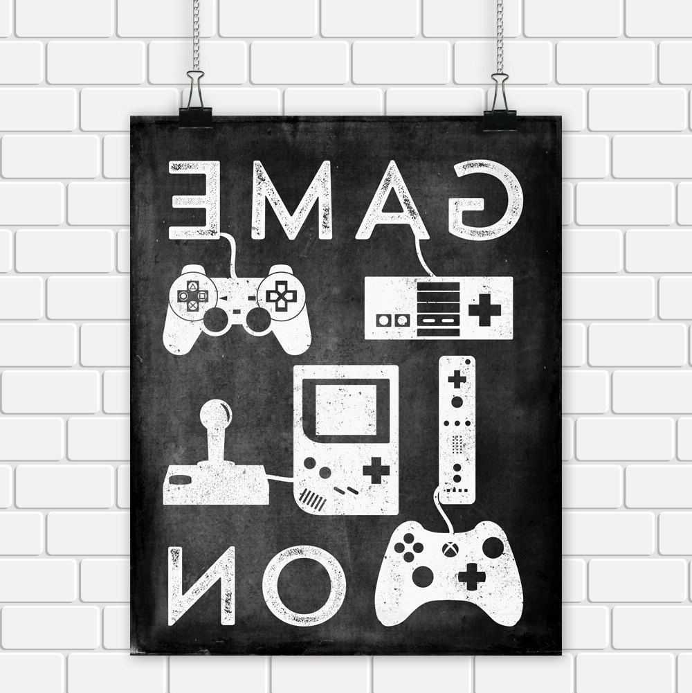 Video Game Wall Art Regarding Most Up To Date Video Game Printable Art Typography Game Controllers Black White (View 6 of 15)