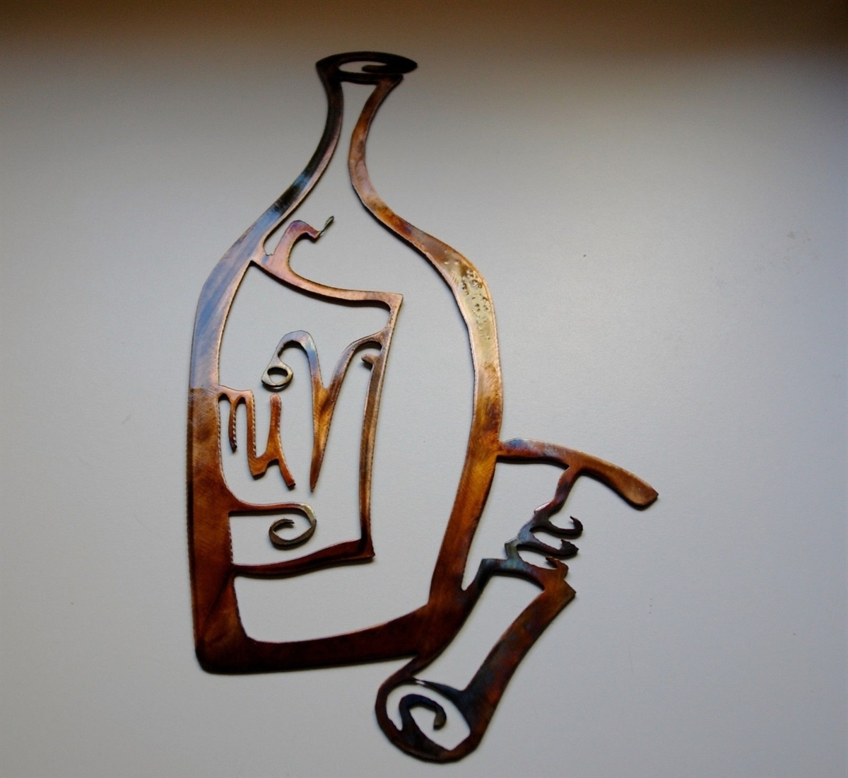 Vino! Metal Wall Art Decor, Wine Bottle And Opener Copper & Bronze Within Newest Wine Metal Wall Art (View 6 of 15)