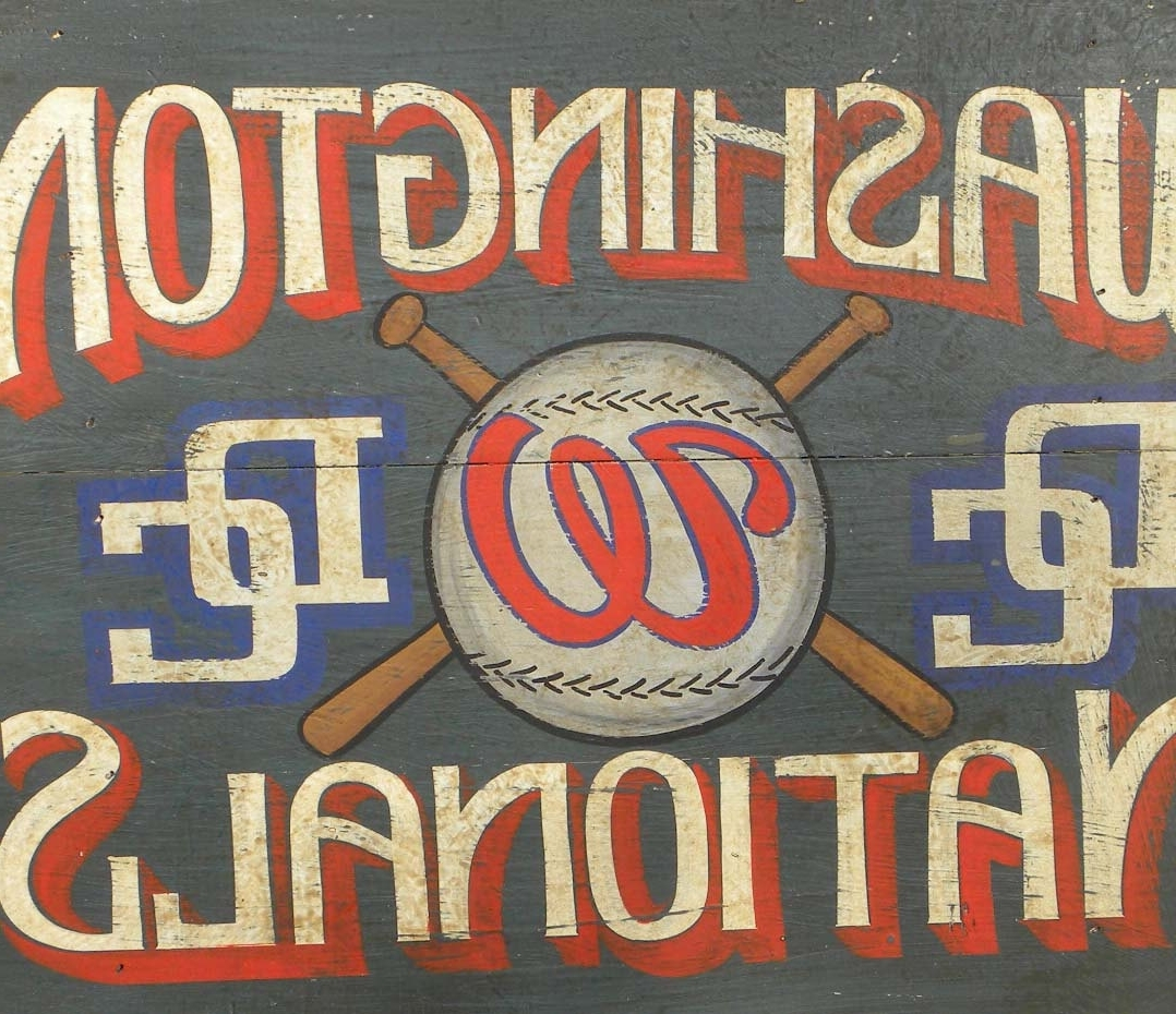 Vintage Baseball Wall Art Regarding Preferred Washington Nationals Baseball Sign Hand Painted Faux Vintage, Wall (View 13 of 15)