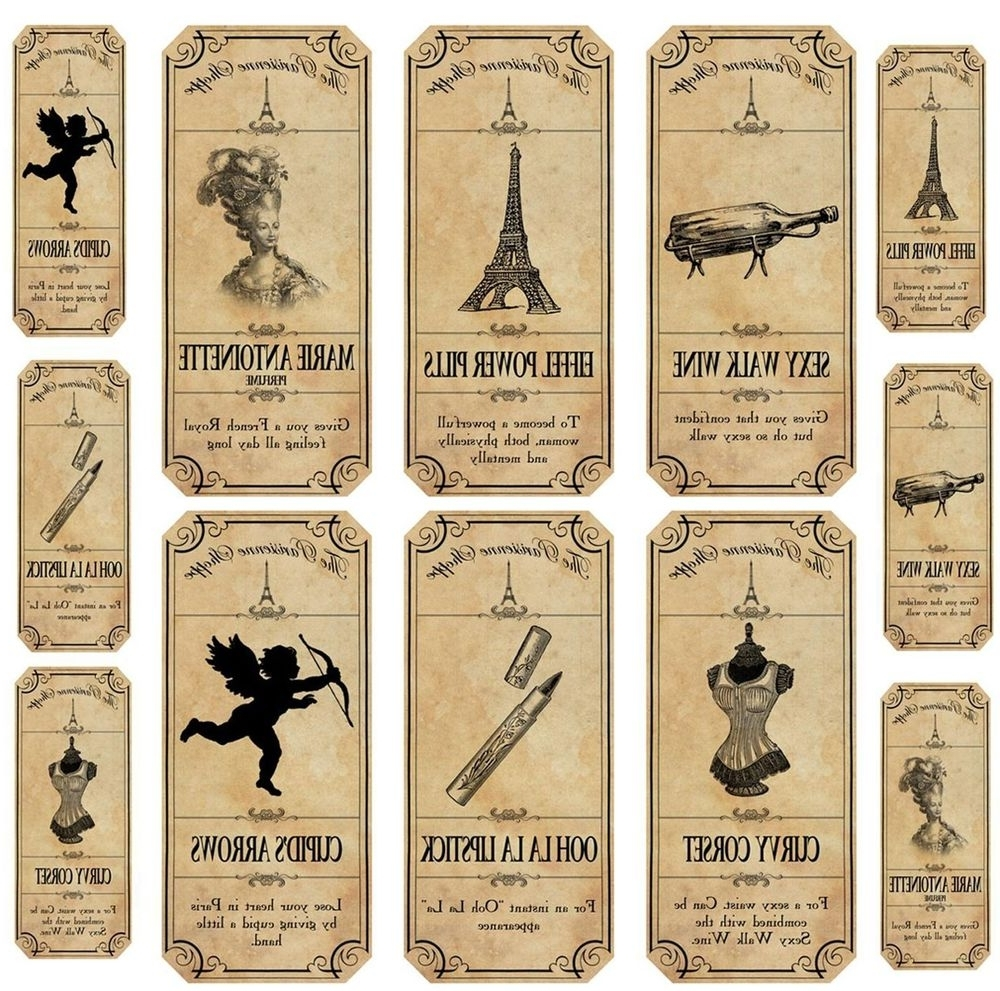 Vintage Inspired12 Paris Apothecary Bottle Labels Stickers For Widely Used Paris Themed Stickers (View 13 of 15)