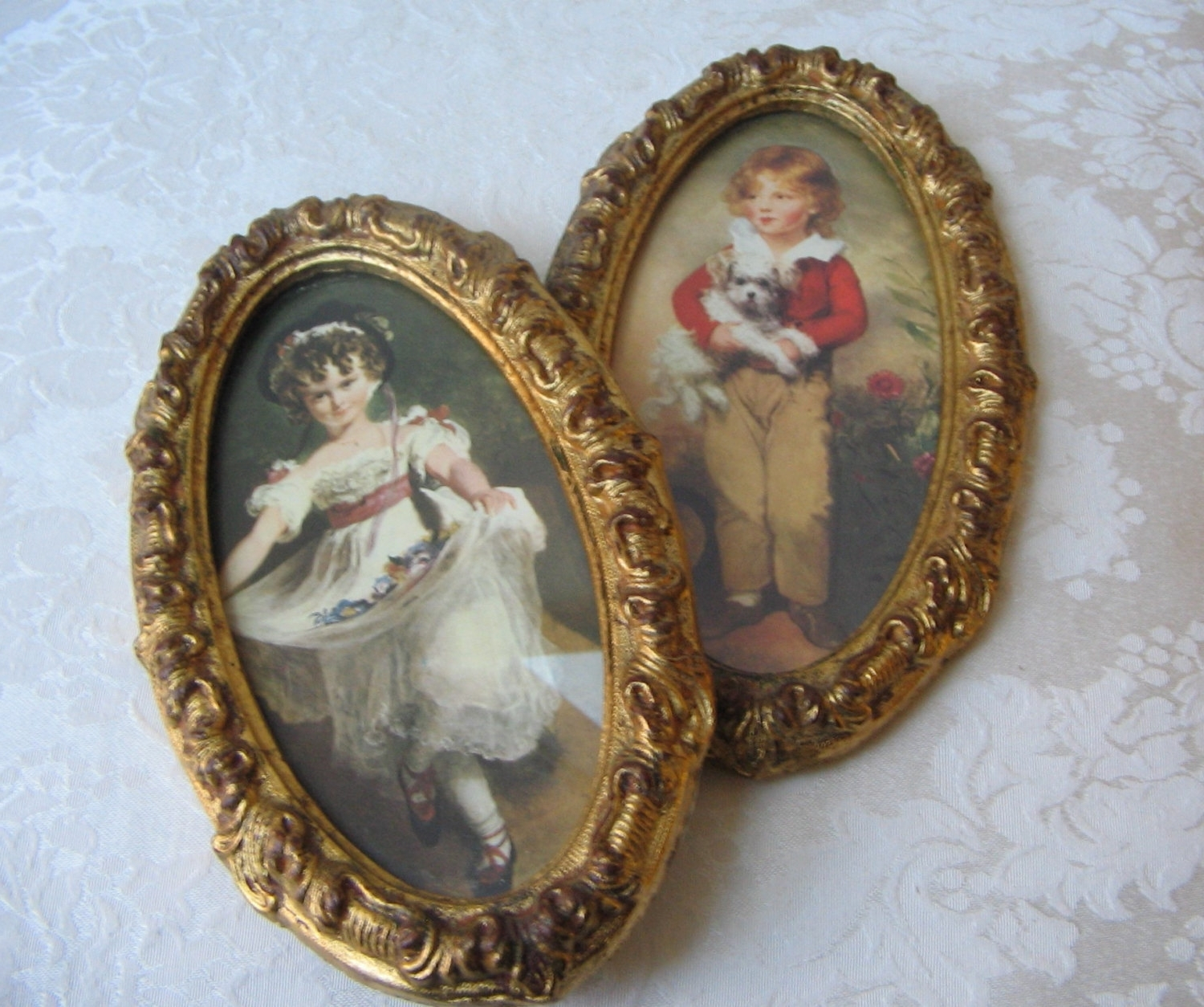 Vintage Italian Wall Art Within Well Known Vintage Florentine Prints In Ornate Gold Italian Frames Of Boy (View 14 of 15)
