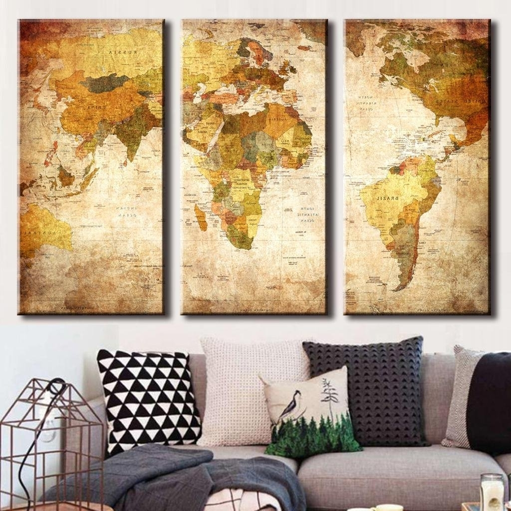 Vintage Map Wall Art For 2018 Amazon: (Frameless) Canvas Prints Map Art, Nleader Retro Style (View 11 of 15)