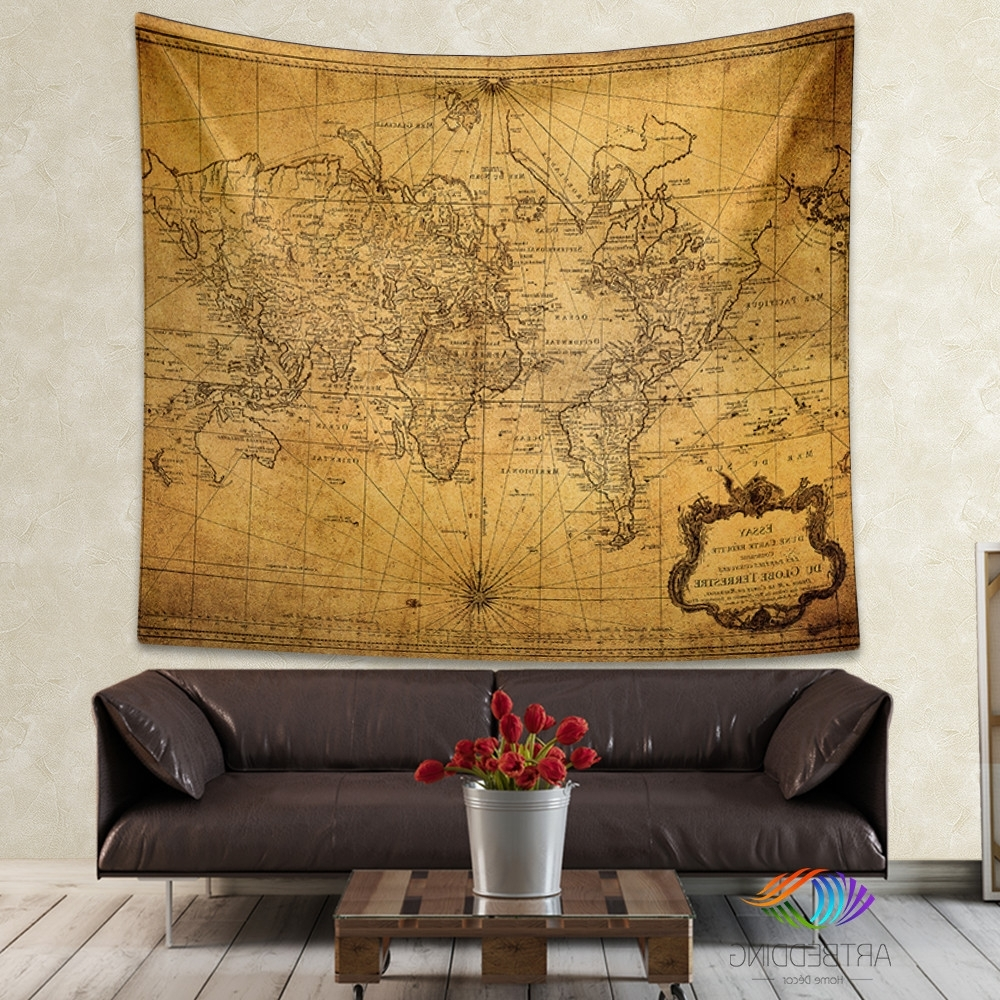 Vintage Map Wall Art Regarding Best And Newest Vintage World Map Wall Tapestry, Steampunk Ancient World Map Wall (View 14 of 15)