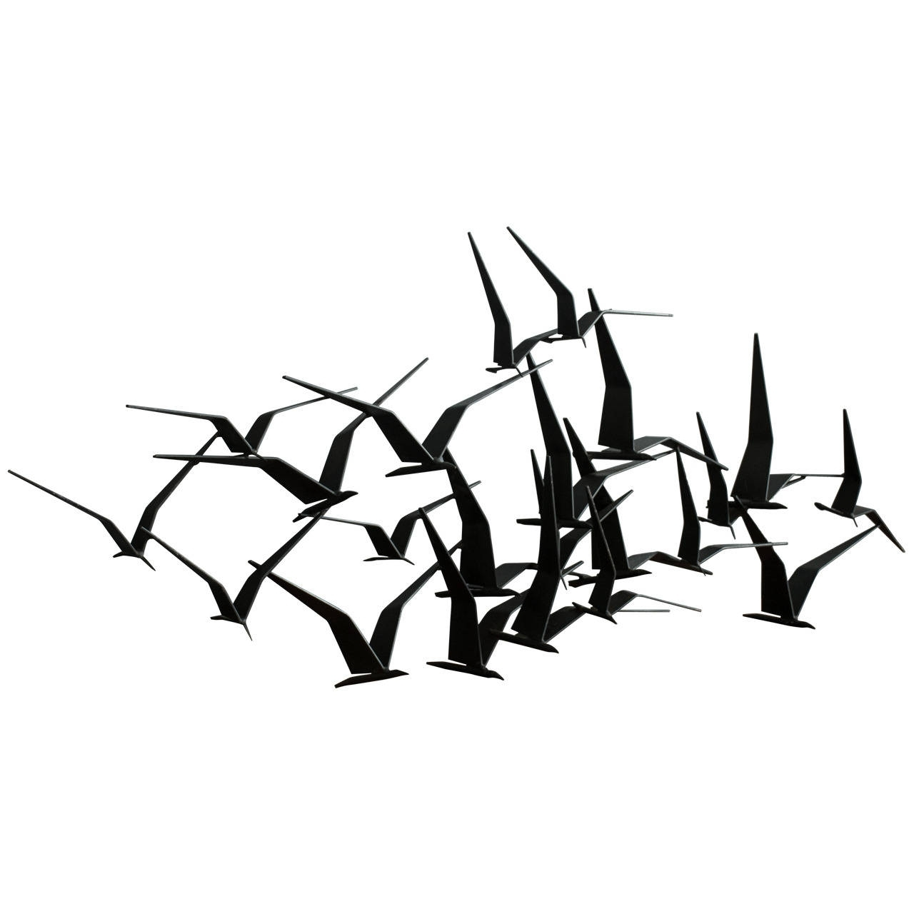 Vintage Mid Century 'birds In Flight' Metal Wall Sculpture Signed For Most Recently Released Flock Of Birds Metal Wall Art (View 14 of 15)