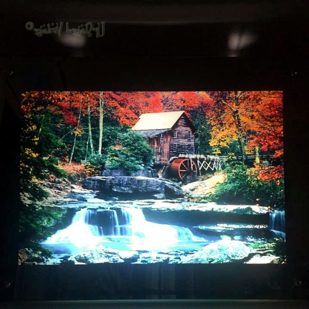 Vintage Retro Lighted Moving Waterfall Picture Watermill In Autumn Intended For Newest Moving Waterfall Wall Art (Gallery 10 of 15)