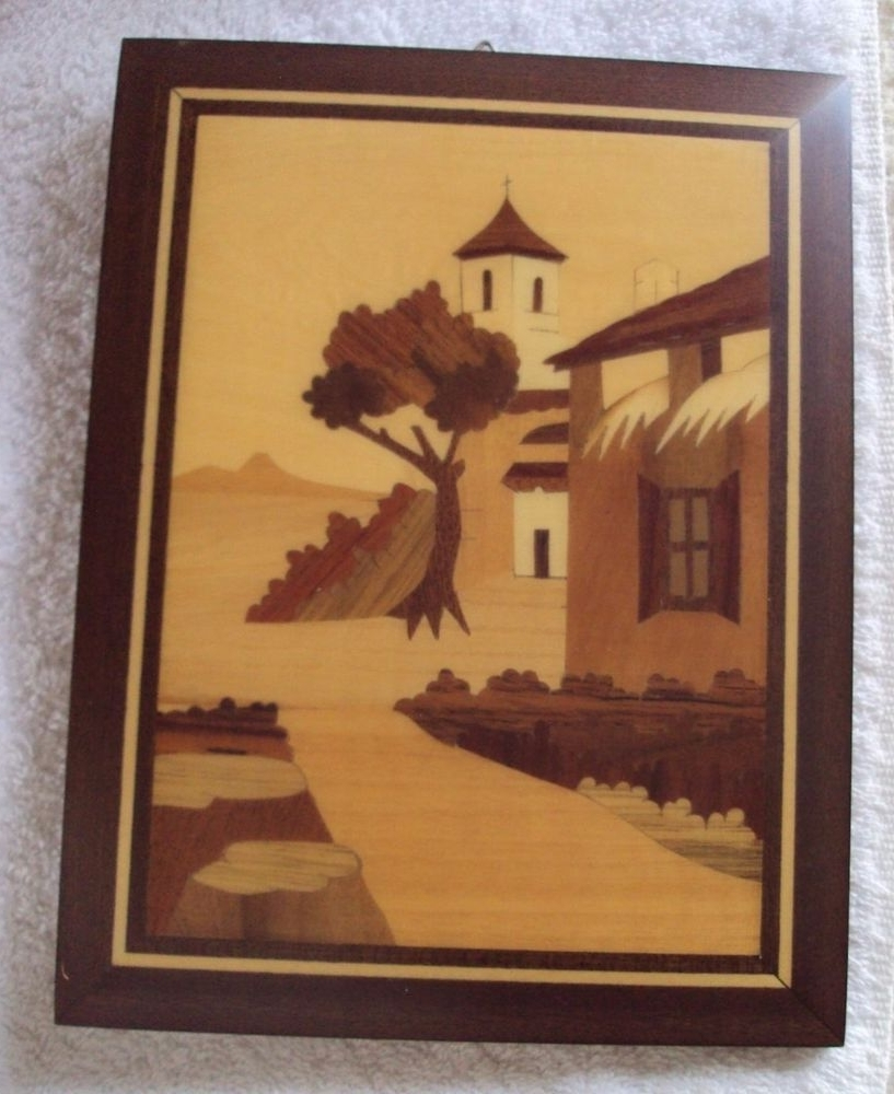 Vintage Sorrento Italy Inlay Wood Marquetry Italian Village Scene Throughout Well Liked Italian Village Wall Art (View 13 of 15)