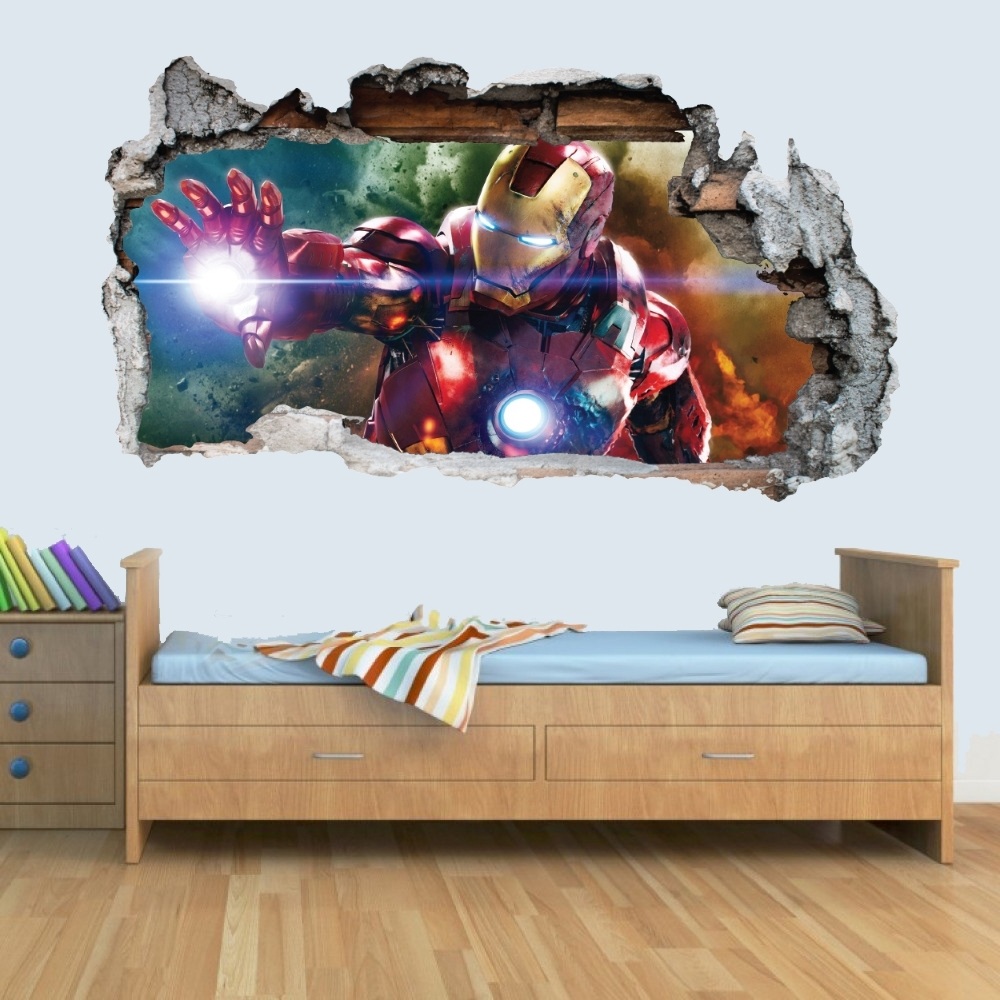 Vinyl 3D Wall Art Regarding Well Known Marvel Avengers Vinyl Smashed Wall Art Decal Stickers Bedroom Boys (Gallery 15 of 15)