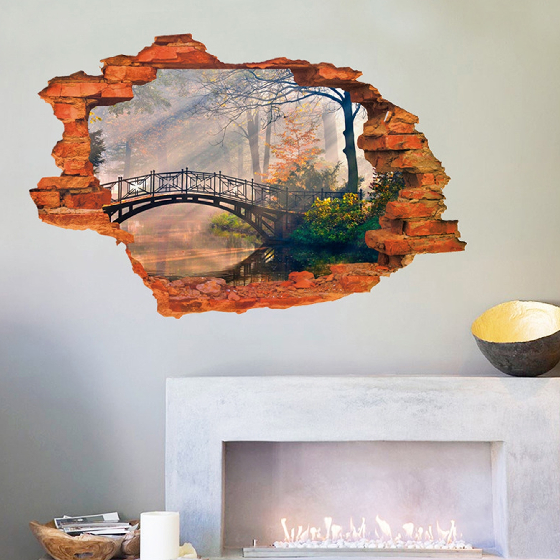 Vinyl 3d Wall Art Within Well Known Removable 3d Broken Wall Stickers Art Vinyl Mural Home Decor + Key (View 4 of 15)