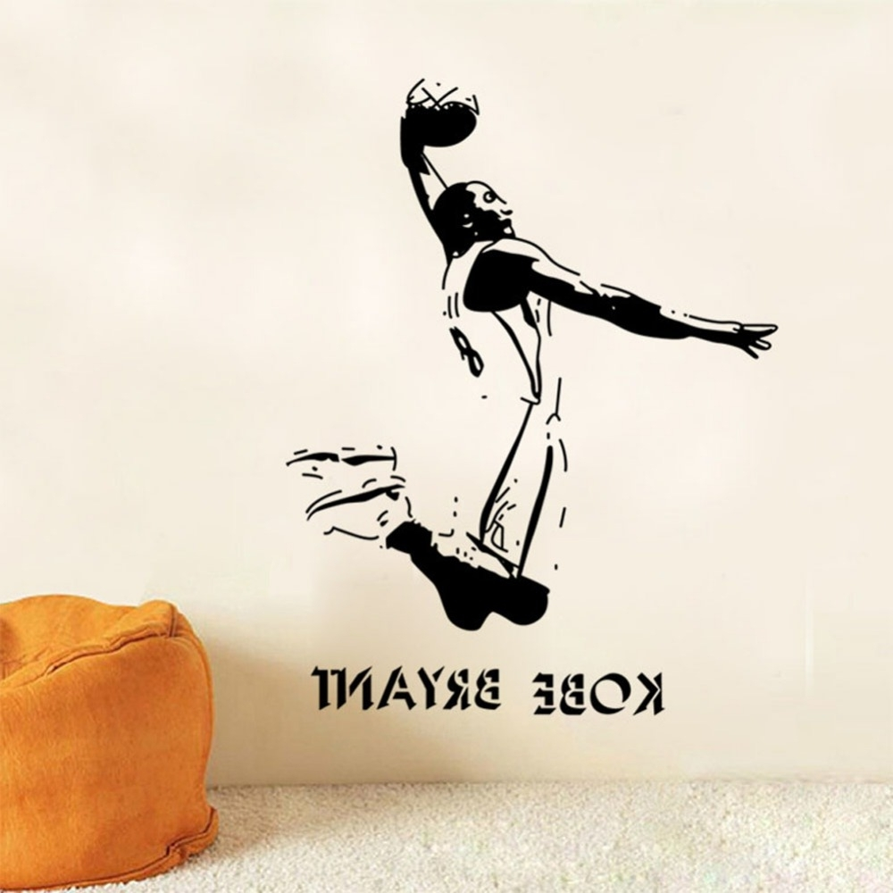 Vinyl Removable Sports Wall Stickers Nba Basketball Player Lakers With Regard To Most Recently Released Nba Wall Murals (View 14 of 15)
