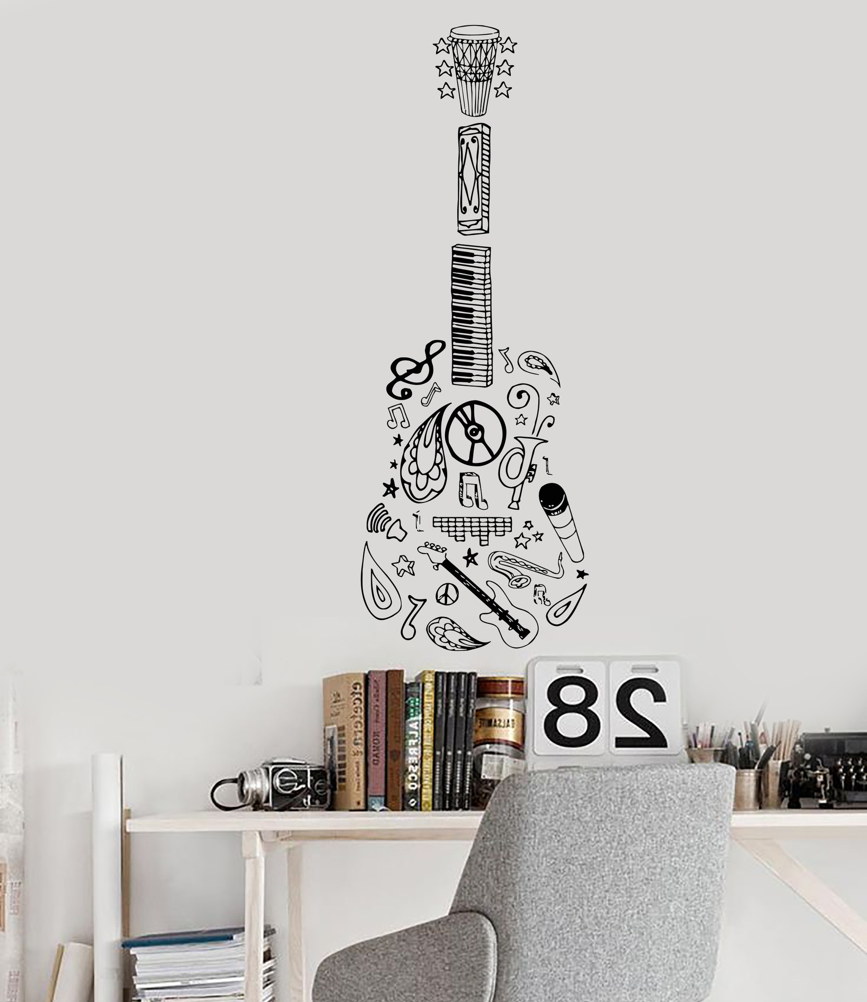 Vinyl Wall Decal Guitar Music Musical Instrument Decor Sketch With 2017 Musical Instrument Wall Art (Gallery 1 of 15)