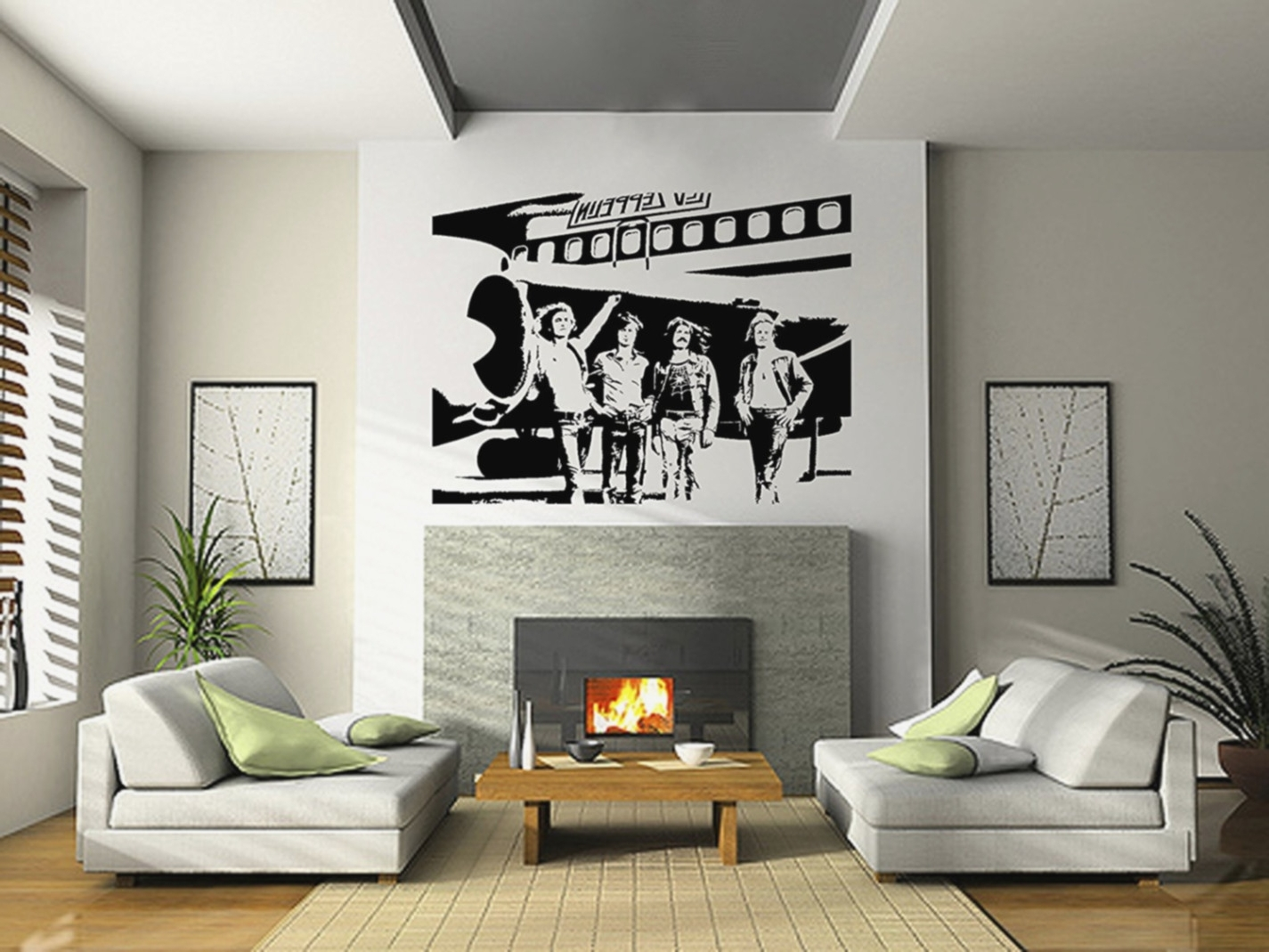 Vinyl Wallpaper Mural With Regard To Most Current Led Zeppelin 3D Wall Art (View 2 of 15)