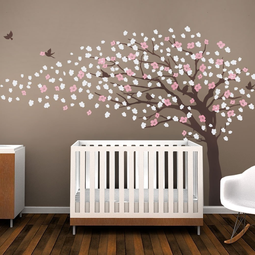 W093 Cherry Blossom Tree For Nursery Decoration Large Tree Vinyl Inside Most Recently Released Cherry Blossom Vinyl Wall Art (View 14 of 15)