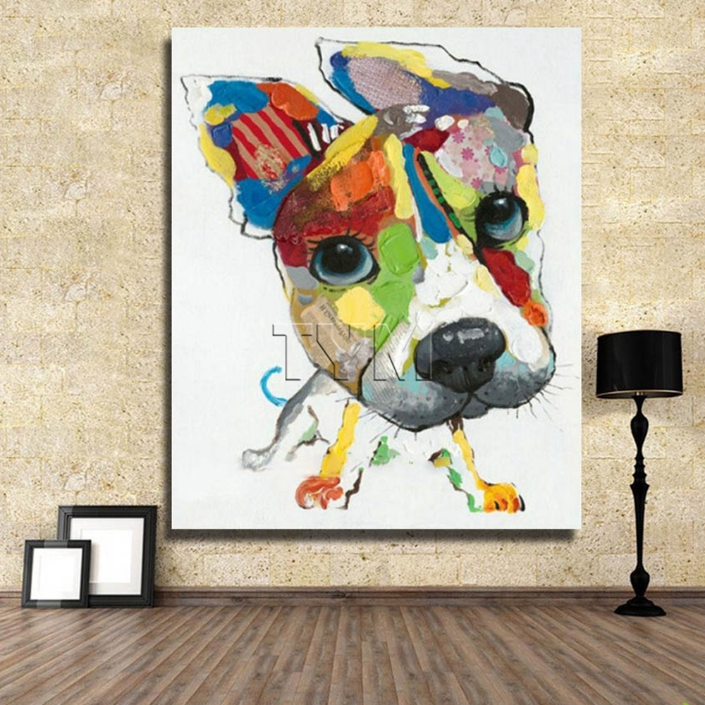 Wall Art Canvas Abstract Dog Painting Home Decor Living Room Decor Pertaining To Fashionable Abstract Dog Wall Art (View 4 of 15)
