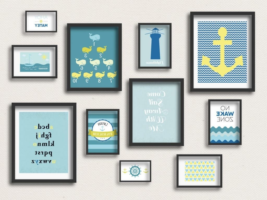 Wall Art Decor Ideas: Saiboat Baby Nautical Wall Art For Nursery In Favorite Abstract Nautical Wall Art (View 12 of 15)