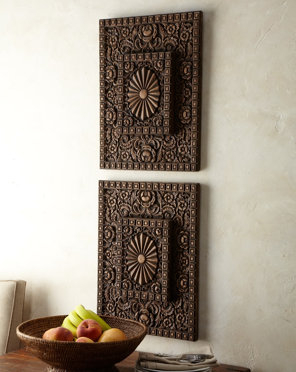 Wall Art Design: Asian Wood Wall Art Two Piece Rectangle Brown In Most  Popular Asian