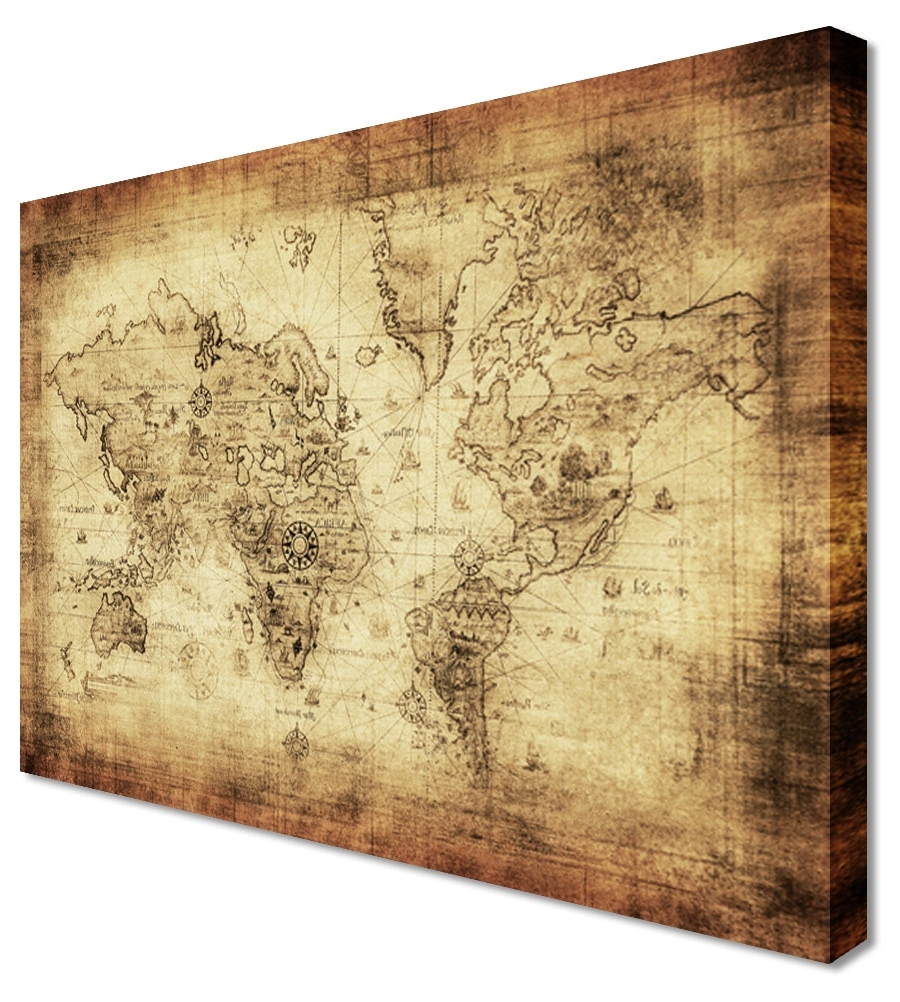 Wall Art Design Ideas: Awesome Vintage World Map Wall Art, Maps Inside Most Up To Date Old World Map Wall Art (View 10 of 15)