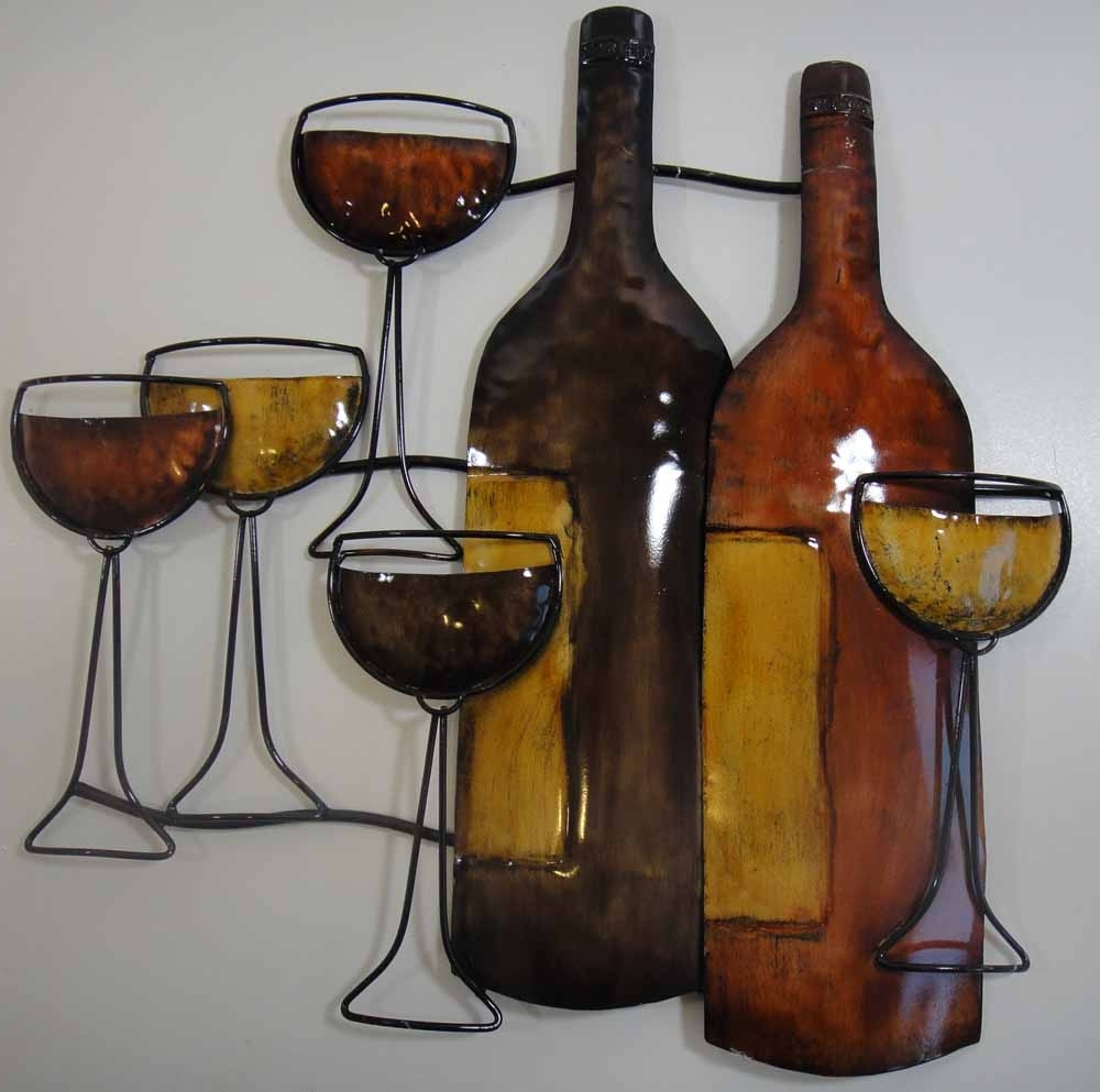 Wall Art Design Ideas: Brown Bottle Wine Metal Wall Art Drinking With Best And Newest Wine Metal Wall Art (View 7 of 15)