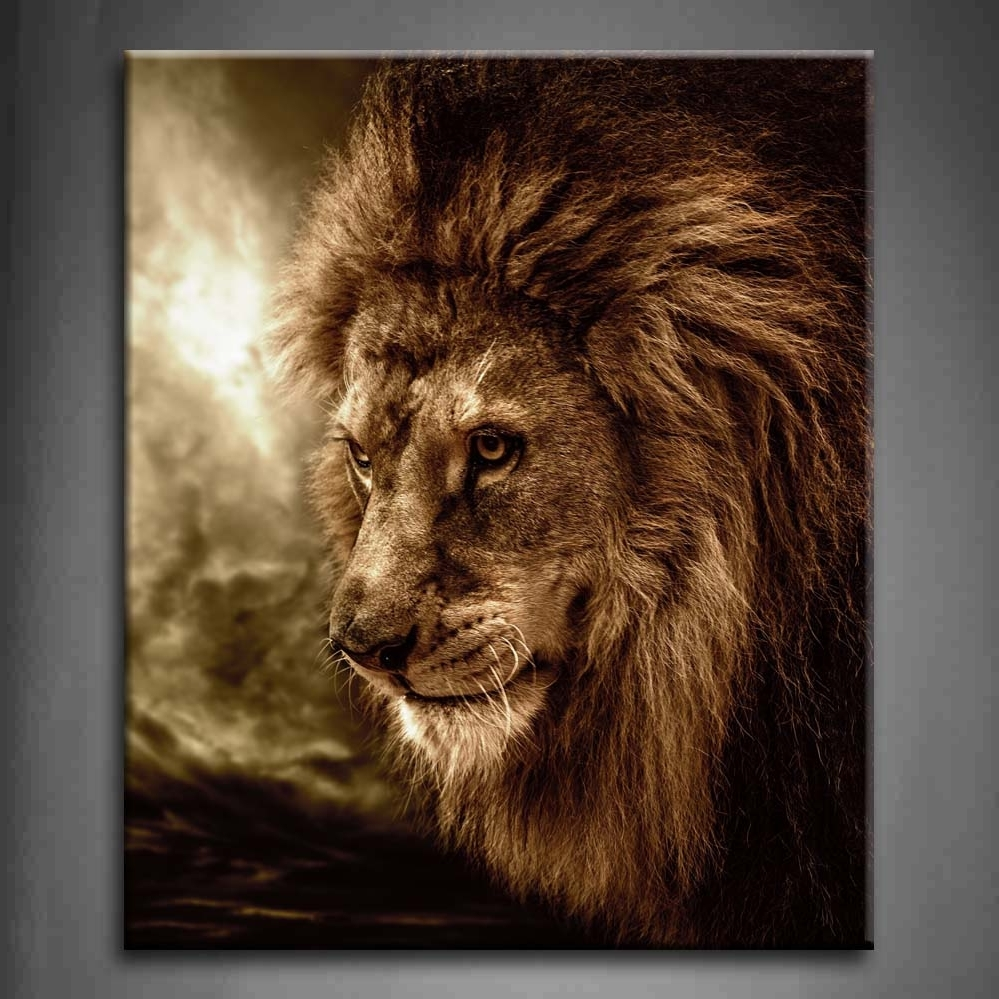 Wall Art Design Ideas: Brown Lion Wall Art Fierce Against First In Recent Lion Wall Art (View 13 of 15)
