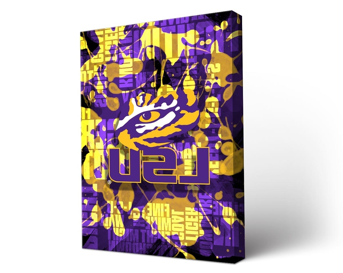 Wall Art Design Ideas: Colorful Design Lsu Wall Art Fight Song With 2017 Lsu Wall Art (View 4 of 15)
