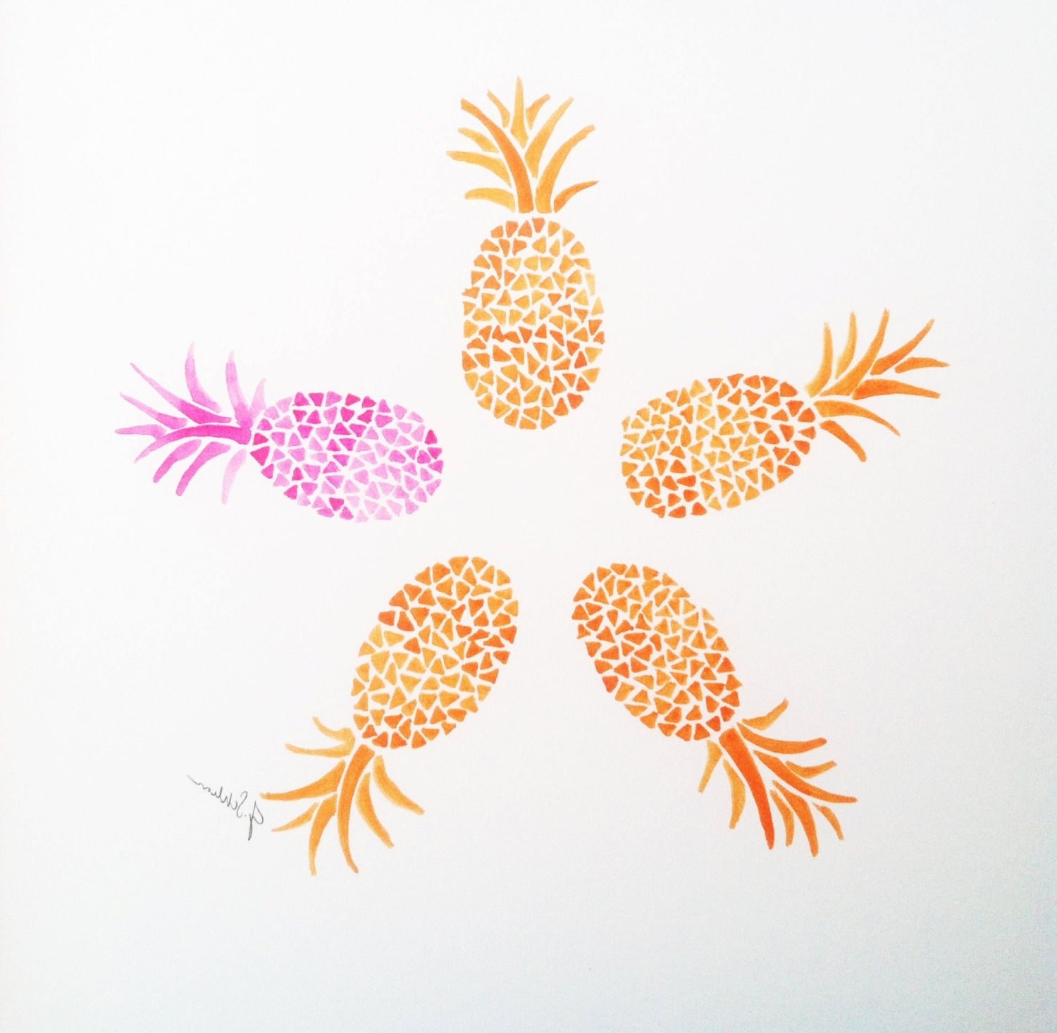 Wall Art Design Ideas: Colorful Orange Pineapple Wall Art Pink In Most Recent Pineapple Metal Wall Art (View 15 of 15)