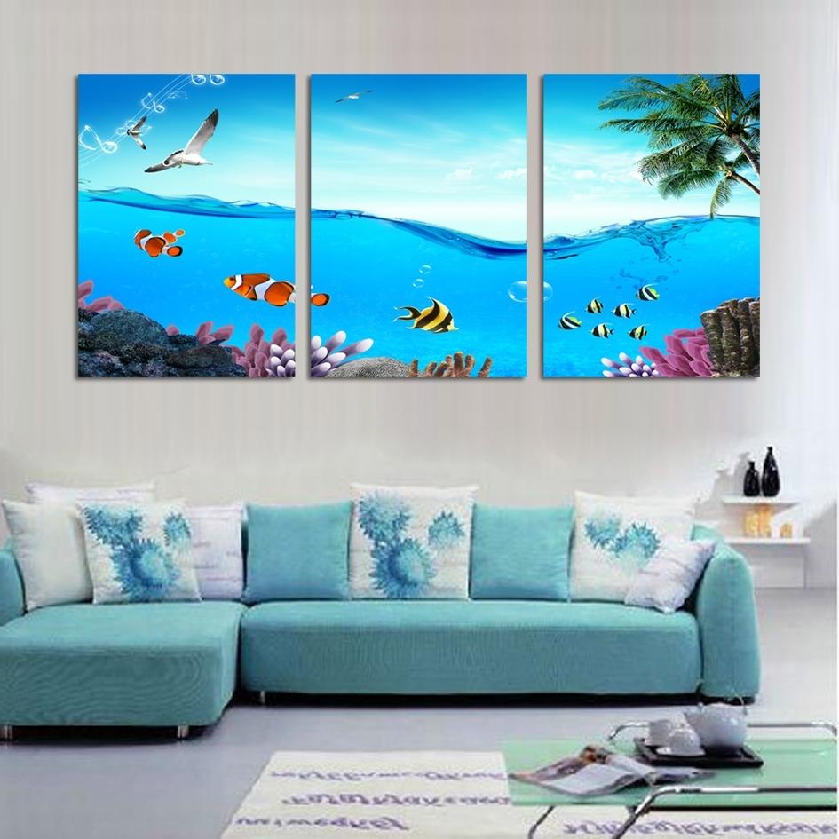Wall Art Designs: Beach Wall Art Modern 3 Piece Wall Art Tropical With Latest Beach Theme Wall Art (View 13 of 15)