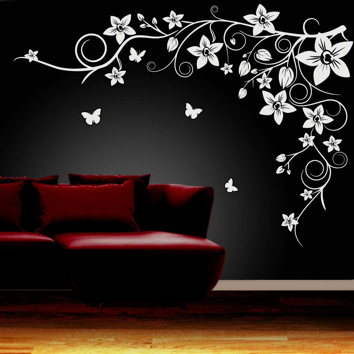 Wall Art Designs Intended For Most Up To Date Wall Art Ideas Design : Black Flower Wall Art Simple Themes (View 9 of 15)