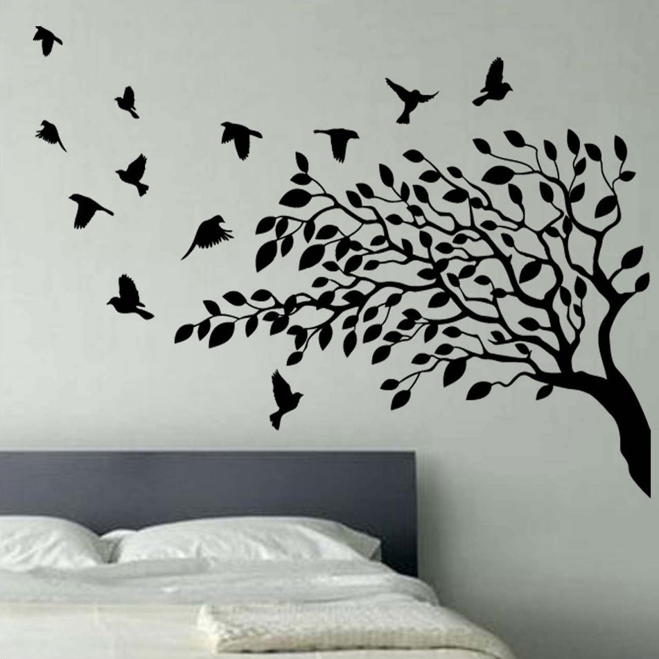 Wall Art For Bedroom Within Best And Newest Wall Art Designs: Vinyl Wall Art Bedroom Vinyl Wall Art Black Tree (View 5 of 15)
