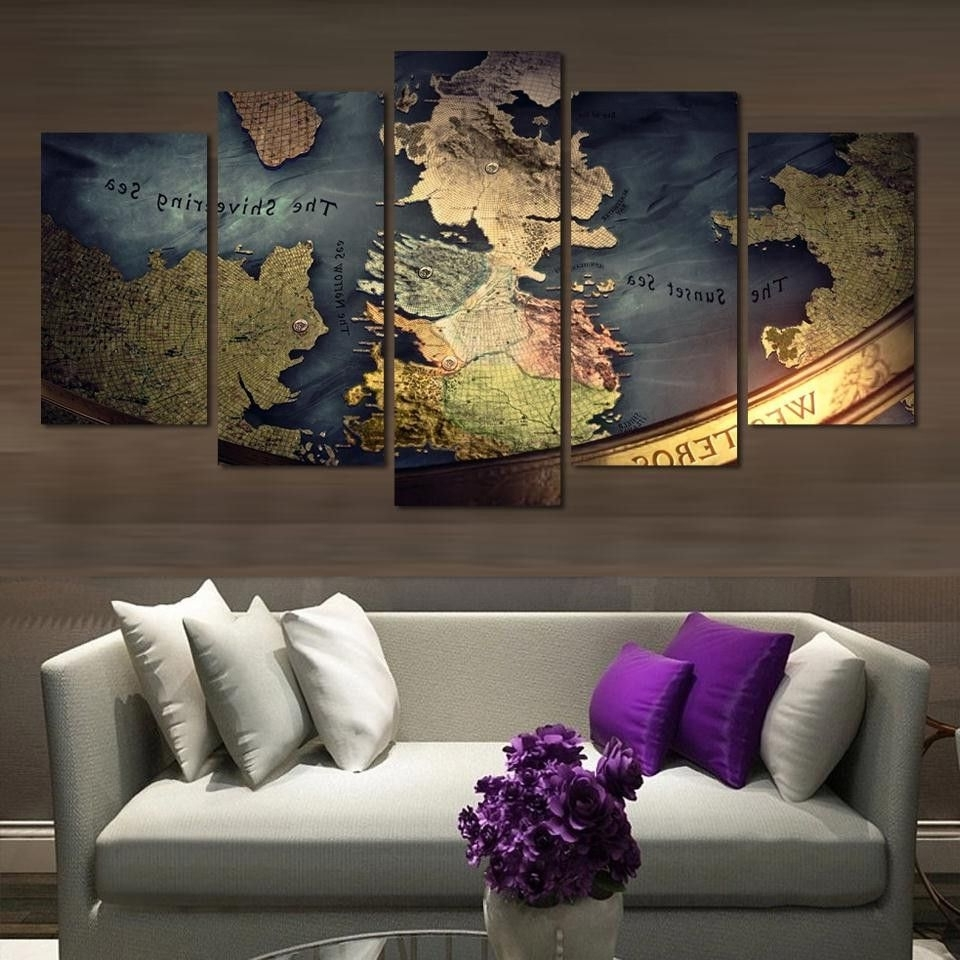 Wall Art For Game Room Intended For 2018 Game Of Thrones Map Canvas Print Wall Art Home Decor (View 10 of 15)