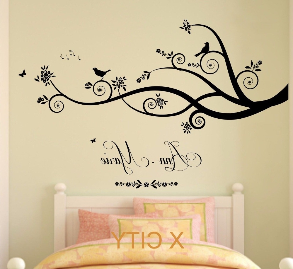 Wall Art For Girls Pertaining To Trendy Wall Art Designs: Wall Art For Bedroom Personalised Name Tree (View 10 of 15)