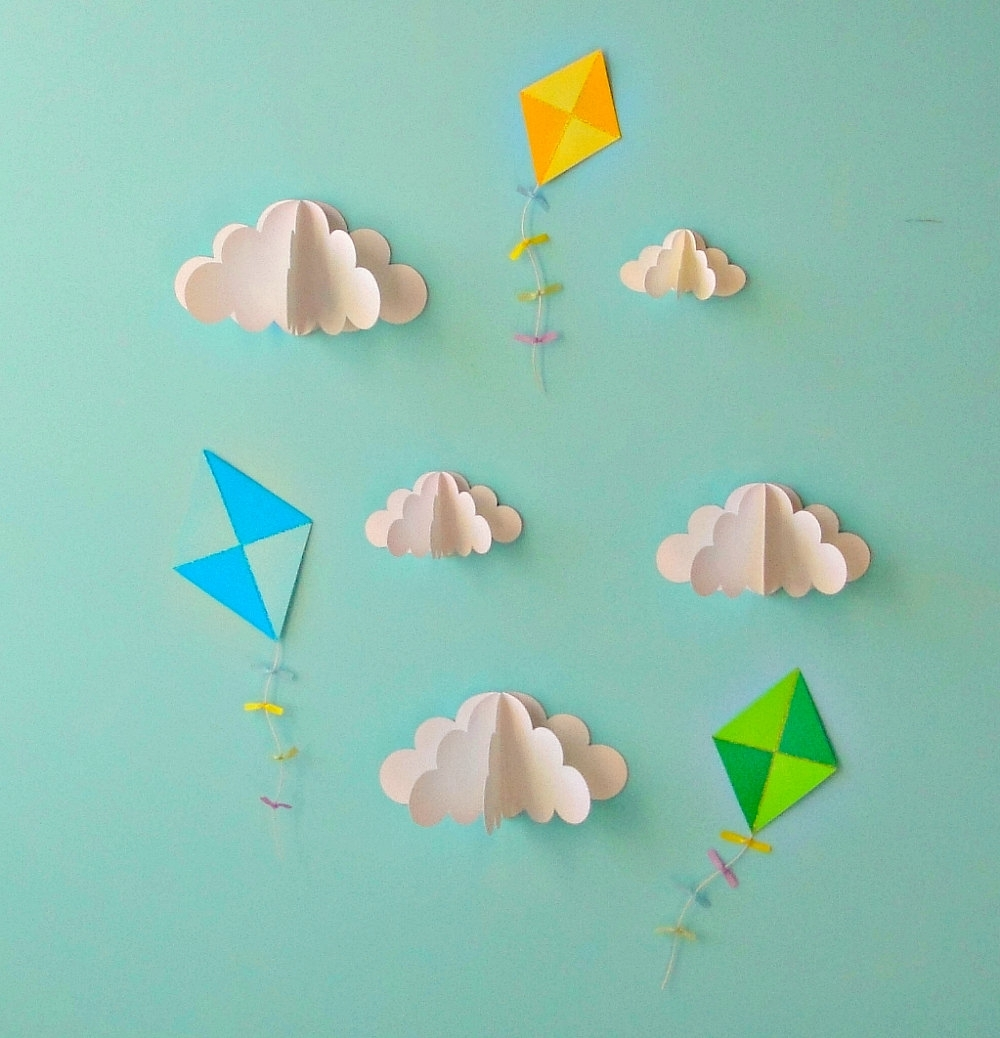 Wall Art Ideas Design : Fly Kite Decal 3d Paper Wall Art Removable In Trendy Diy 3d Paper Wall Art (View 11 of 15)