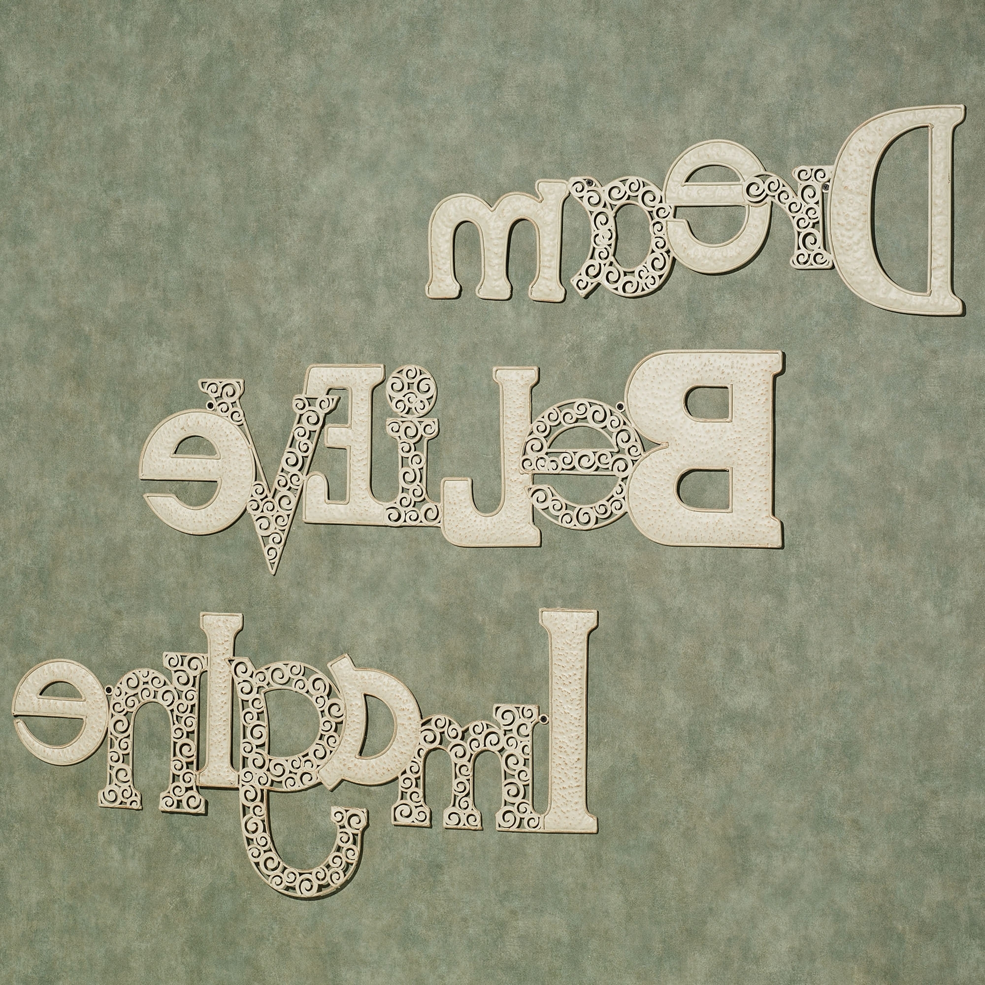 Wall Art Ideas Design : Set Of Three Metal Wall Art Words Unique Regarding Preferred Cream Metal Wall Art (View 14 of 15)