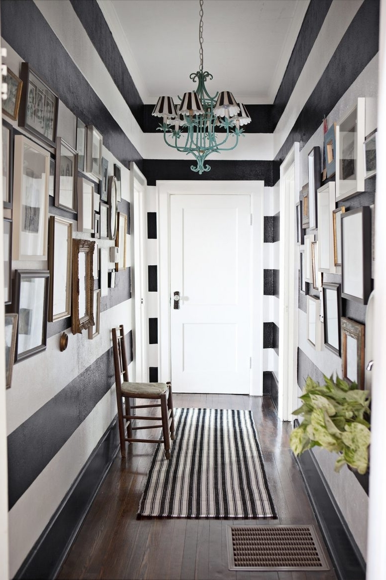 Wall Art Ideas For Hallways Intended For Well Liked White Table On Hardwood Floor Hallway Wall Art Ideas Black Metal (View 11 of 15)