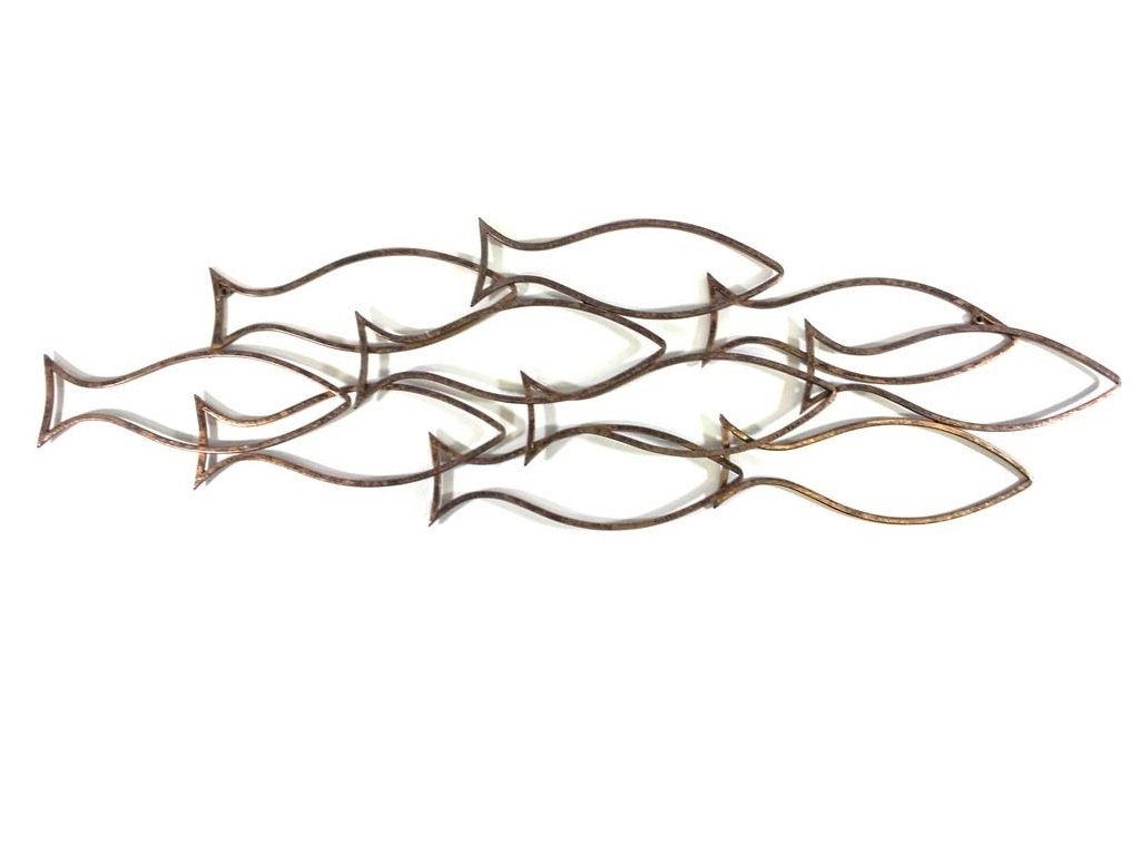Wall Art – Large Fish Shoal Outline Pertaining To Fashionable Shoal Of Fish Metal Wall Art (View 13 of 15)