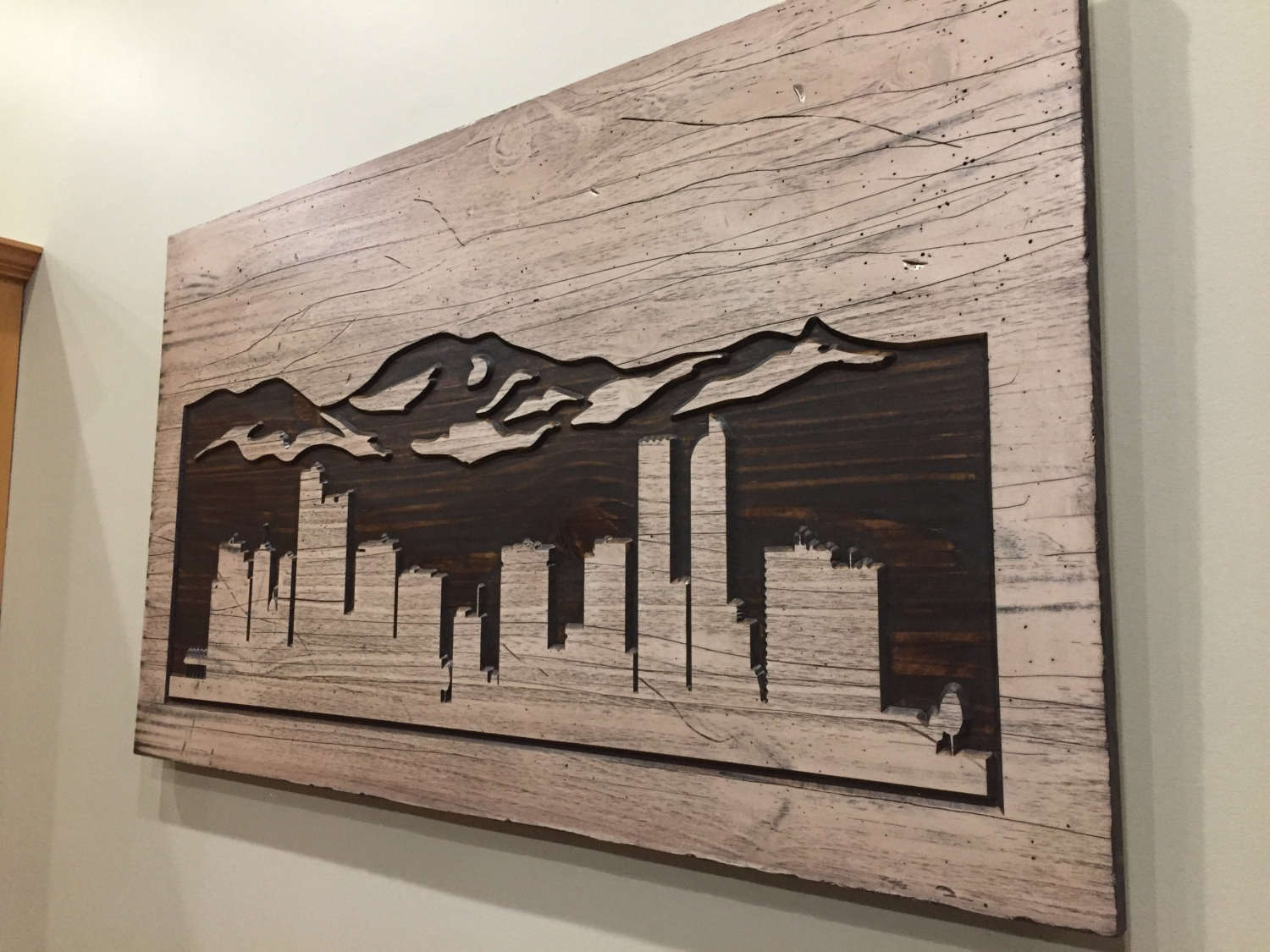 Wall Art On Wood Pertaining To Latest Denver Skyline Art, Wood Carved Wall Art, Mountain Art, Mountain (View 10 of 15)