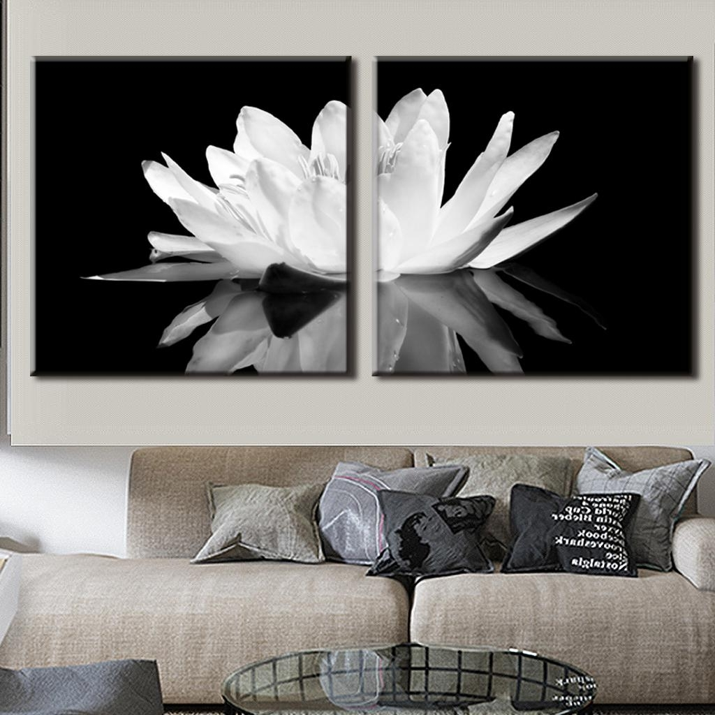Wall Art Print Sets Intended For Well Known 2 Pcs/set Modern Wall Paintings White Lotus In Black Canvas Print (View 8 of 15)